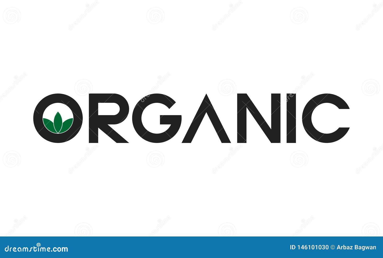 Organic leaves text logo