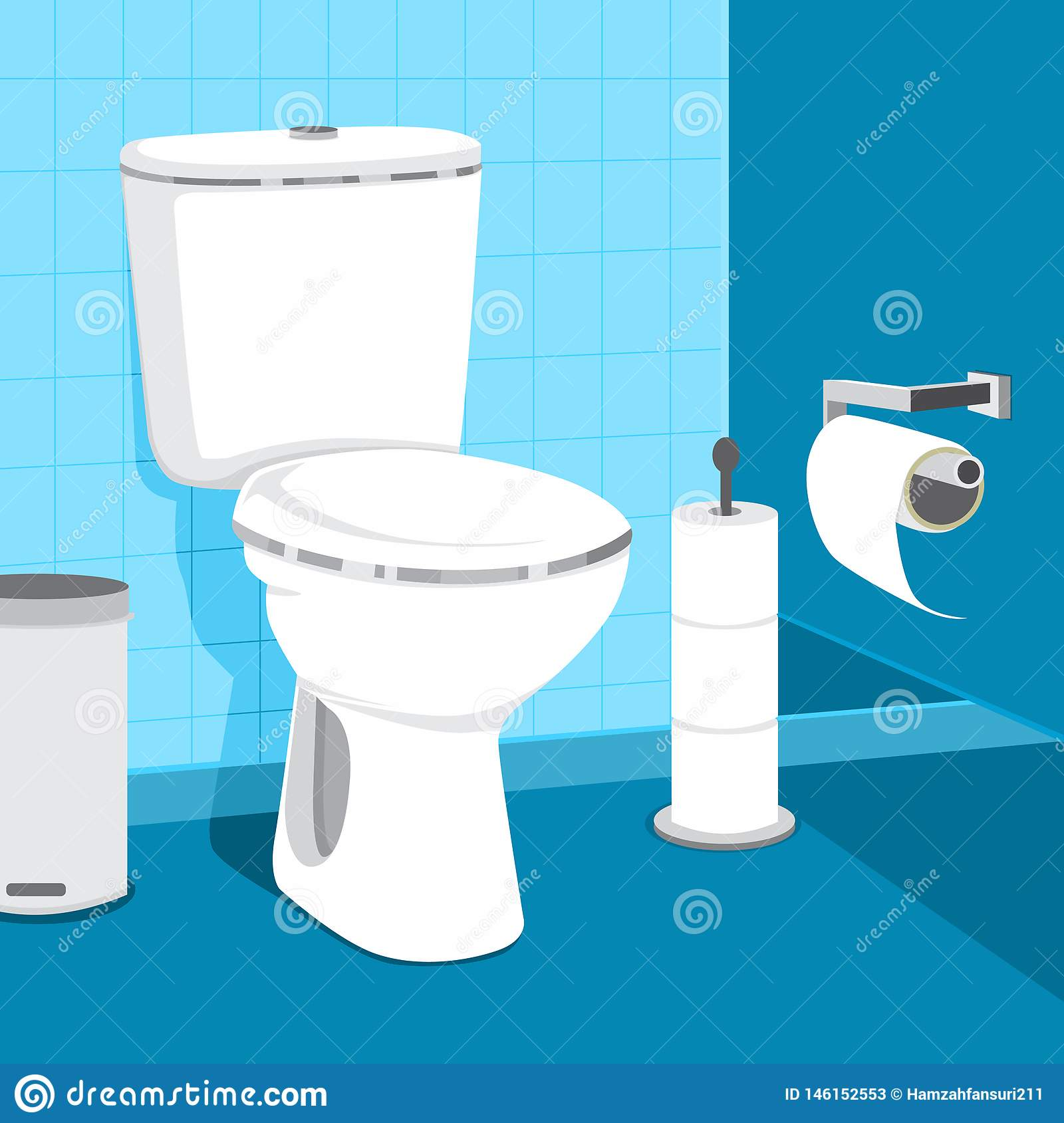 Toilet Bowl Vector Illustration. Toilet Paper And Trash Can