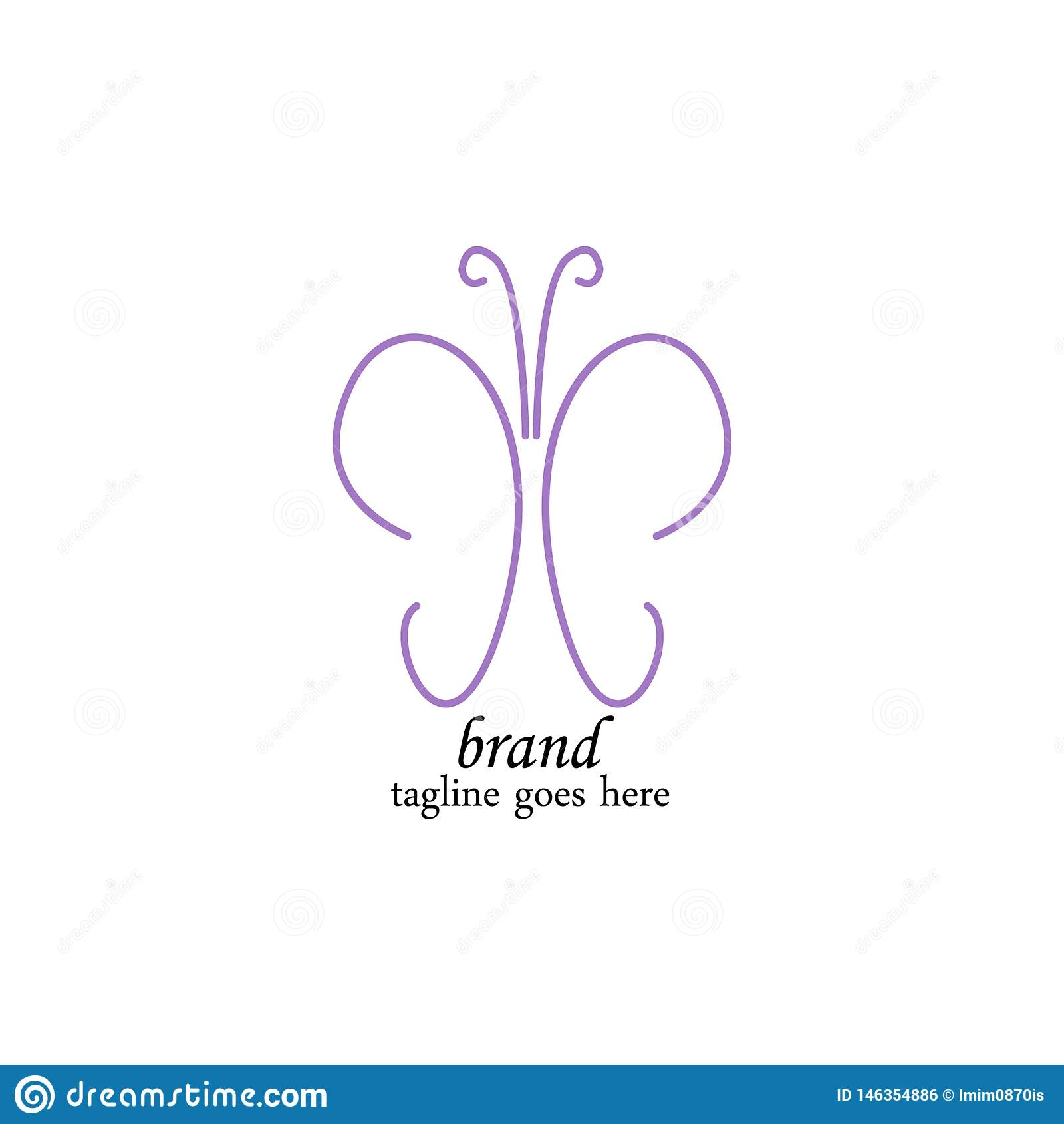 Luxurious purple butterfly logo template