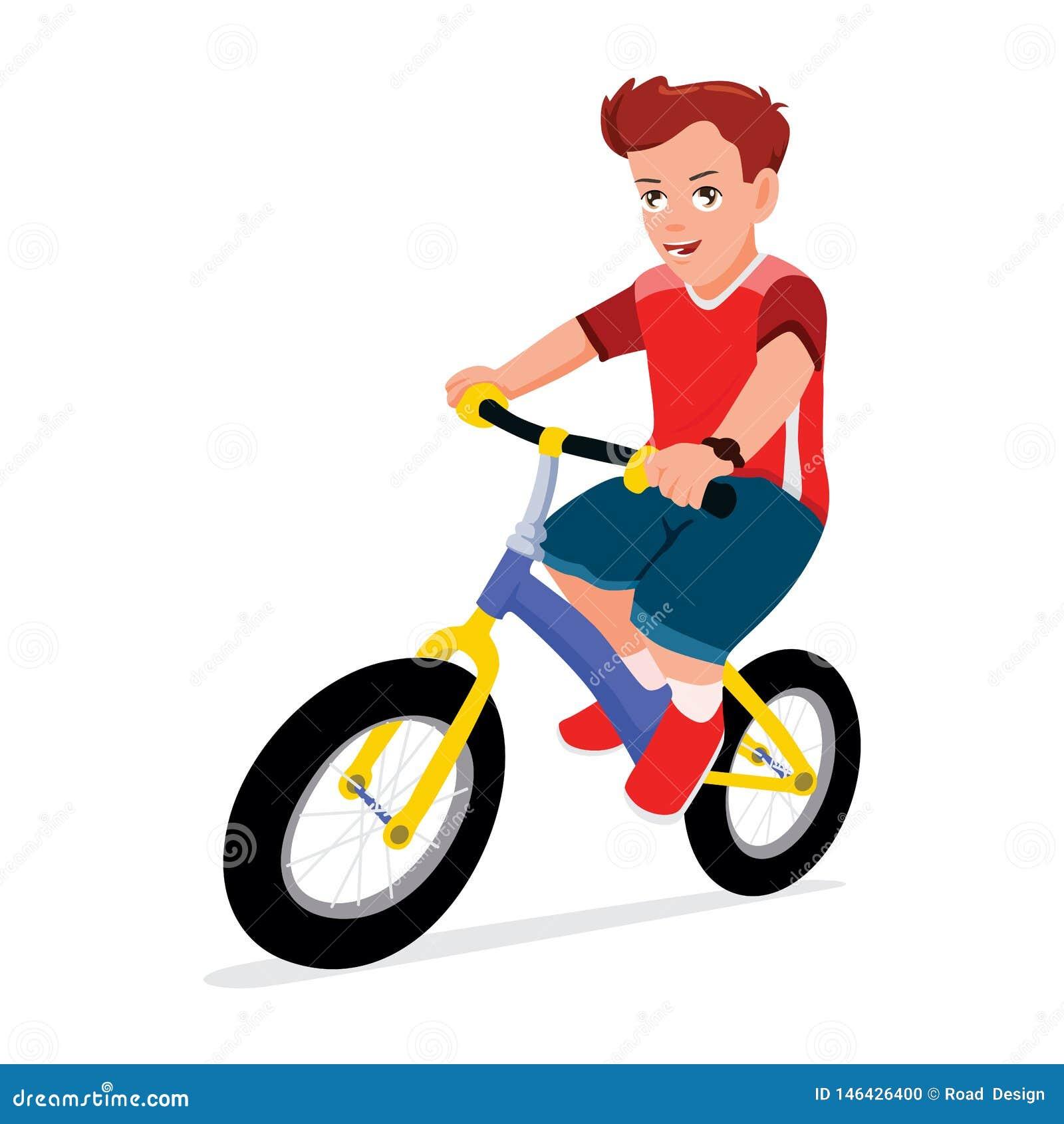 Boy Riding Bike Vector Illustration. Children Playing Bicycle