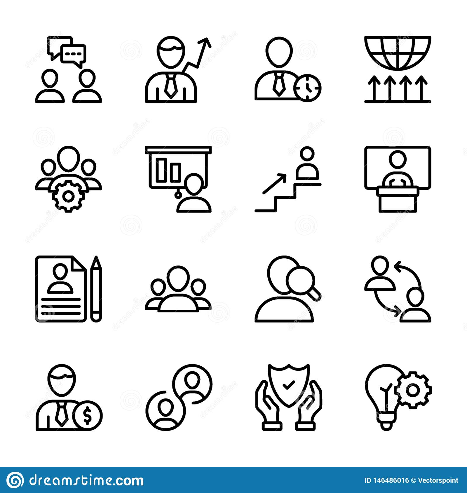Personal Quality, Employee Management Line Icons