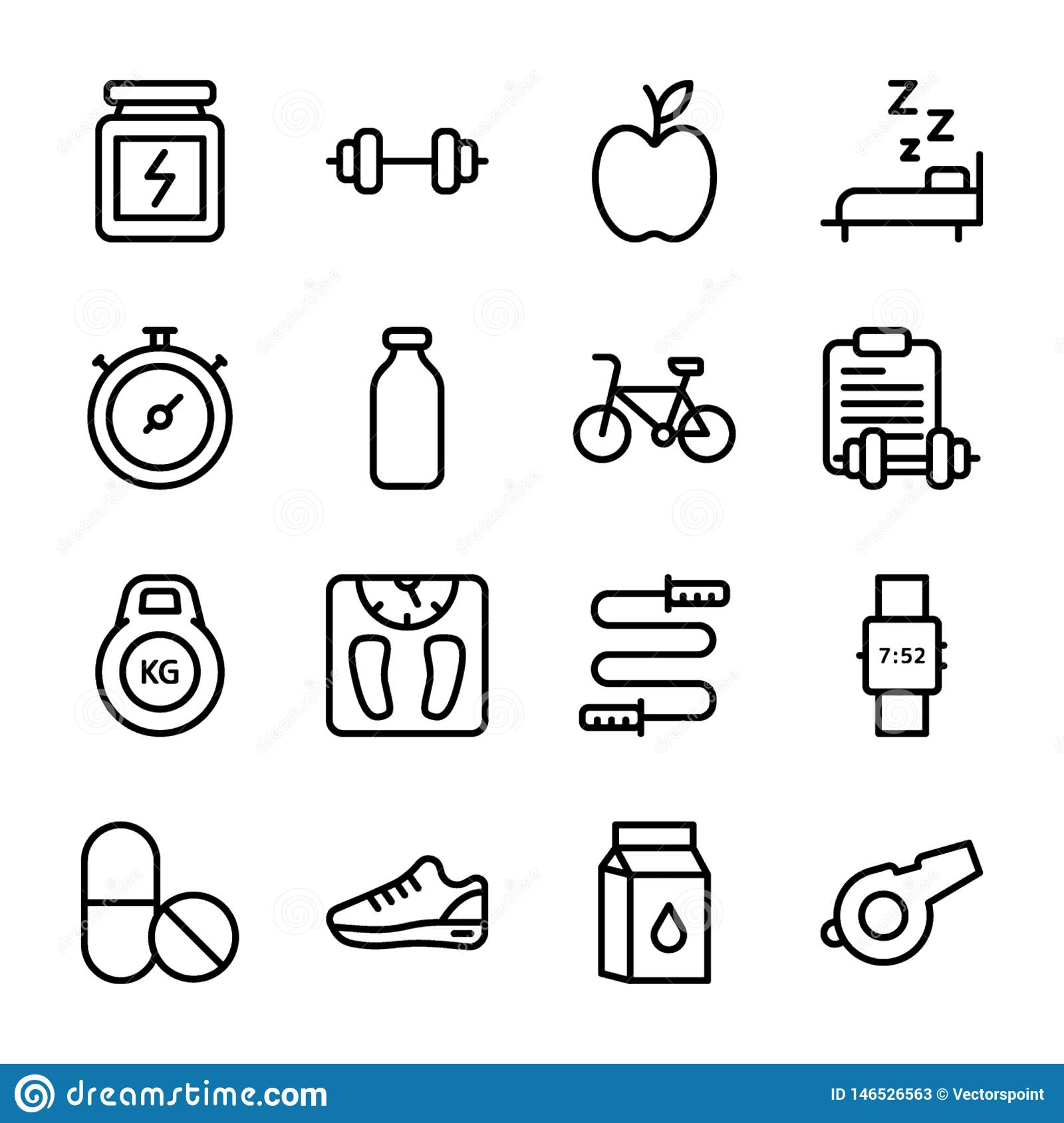 Diet Plan, Sports Supplement, Nutrition Icons Pack