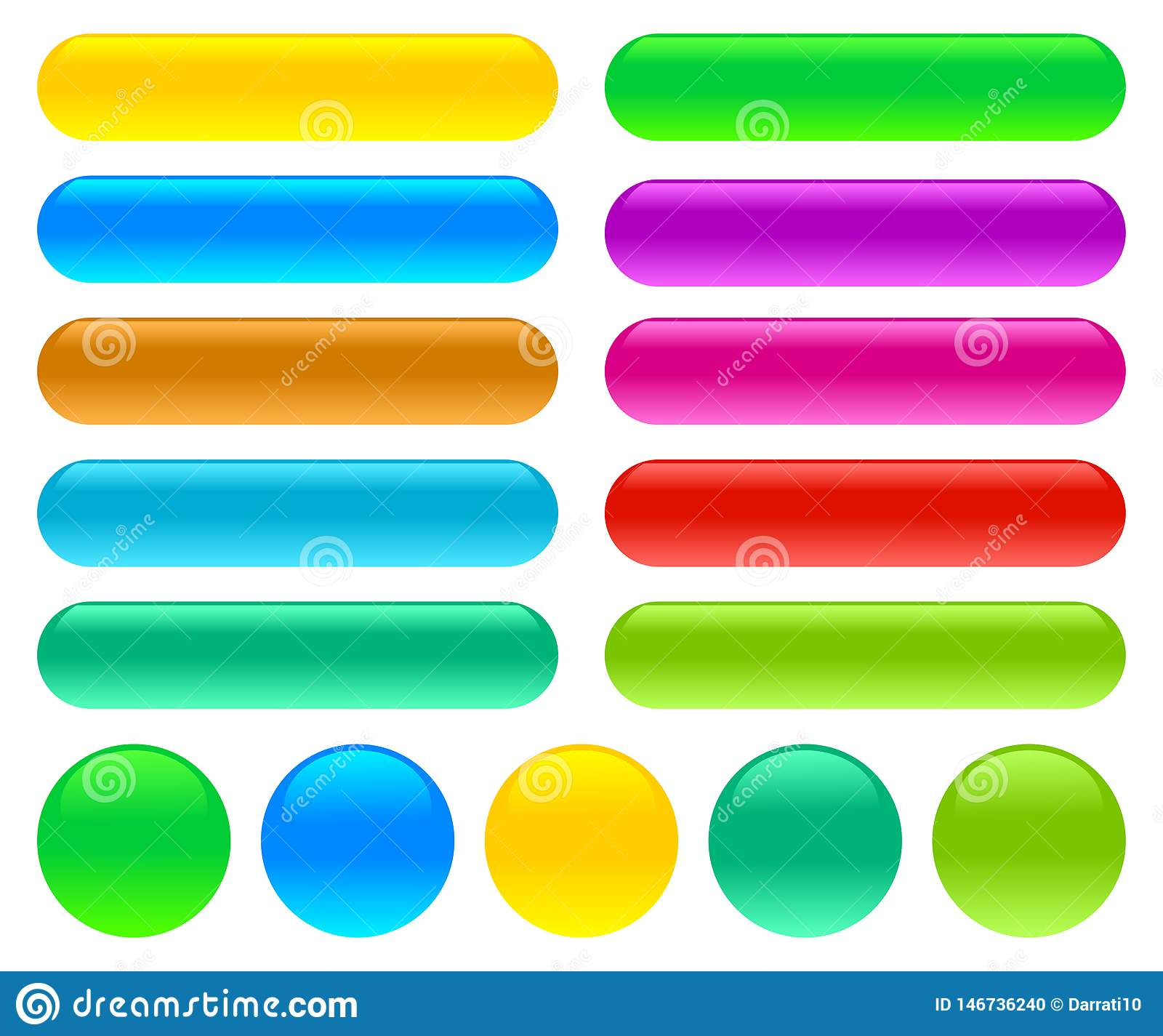 Glossy glass buttons on an isolated white background