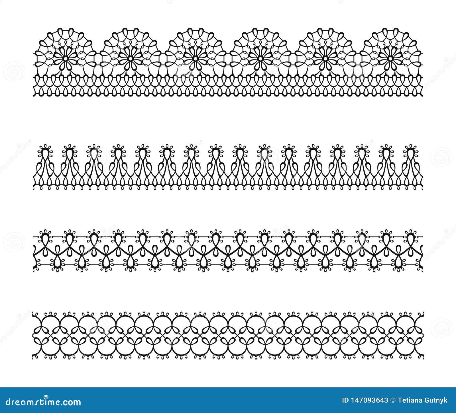 Set of lace seamless border, pattern. Black white silhouette elegant decorative ribbon