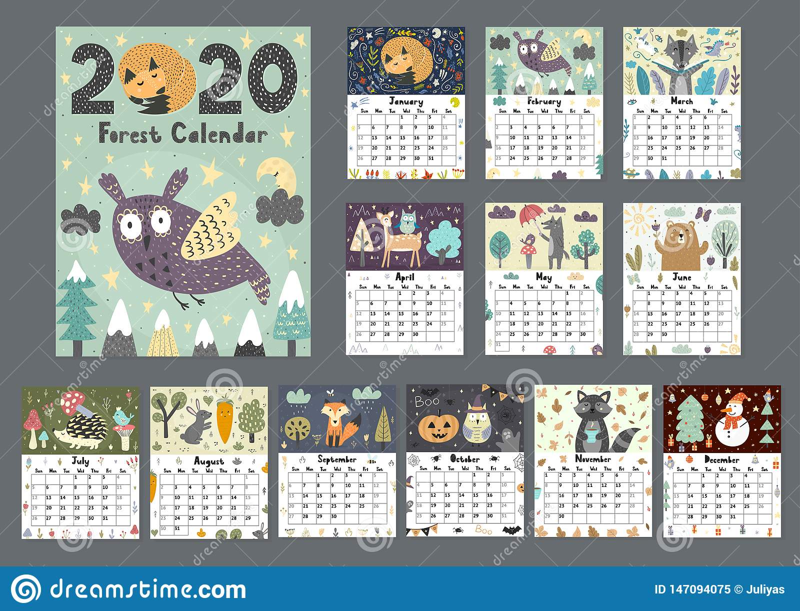 Forest calendar for 2020 year. Printable planner of 12 months with cute animals