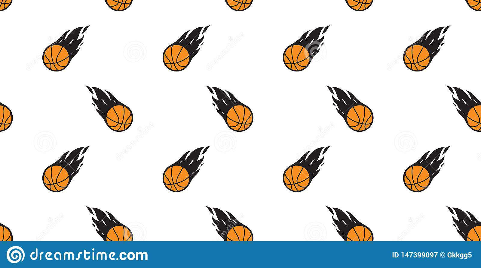 Basketball Seamless Pattern Vector Fire Sport Tile Background