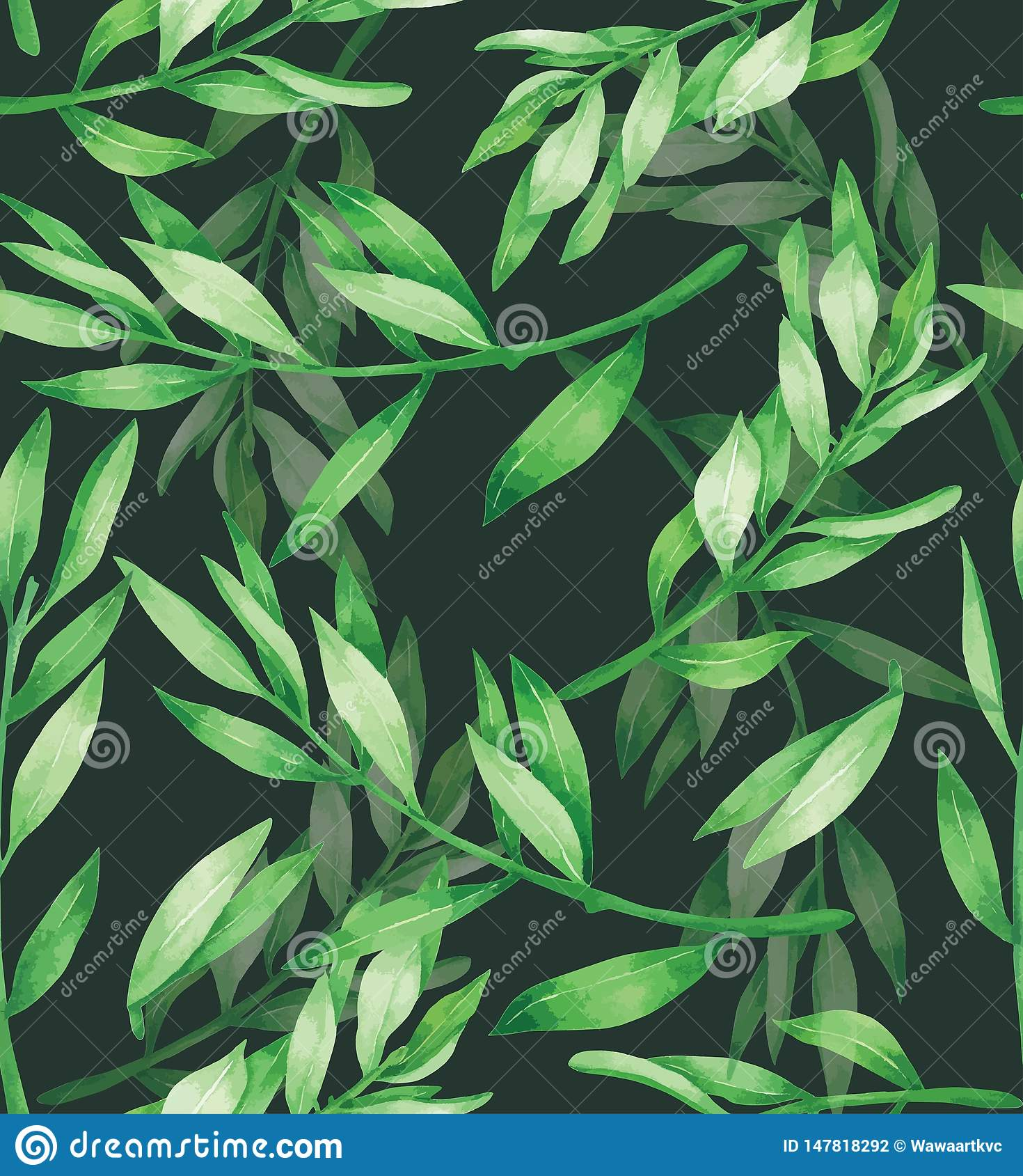 Green Leave Seamless Pattern Hand drawn painted in watercolor