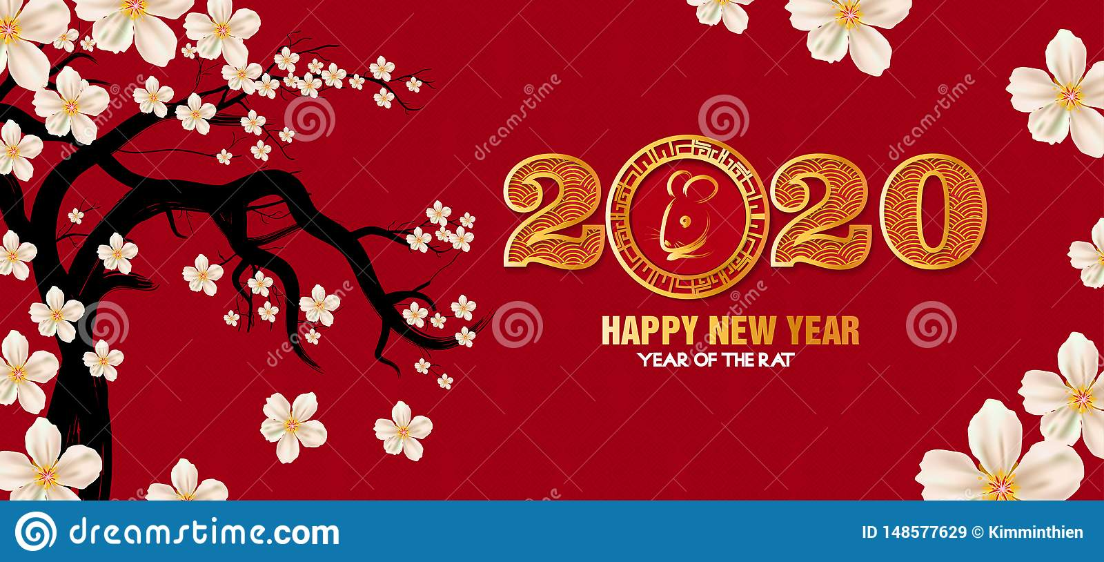 Happy New Year 2020, Merry Christmas. Happy Chinese New Year 2020 Year Of  The Rat Stock Image - Image of festive, december: 148577629