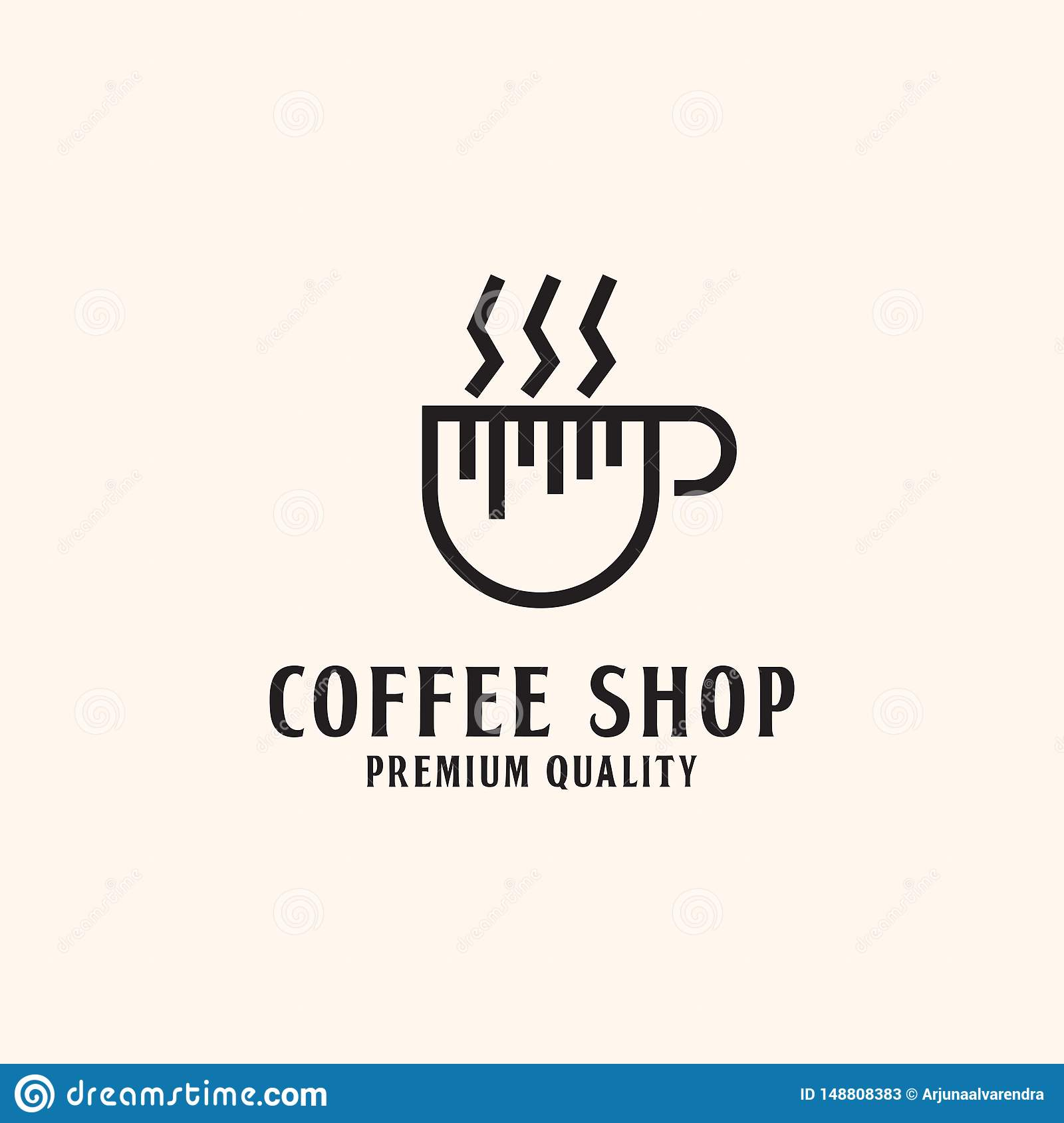 Simple Coffee shop Logo design, hot Coffee illustration
