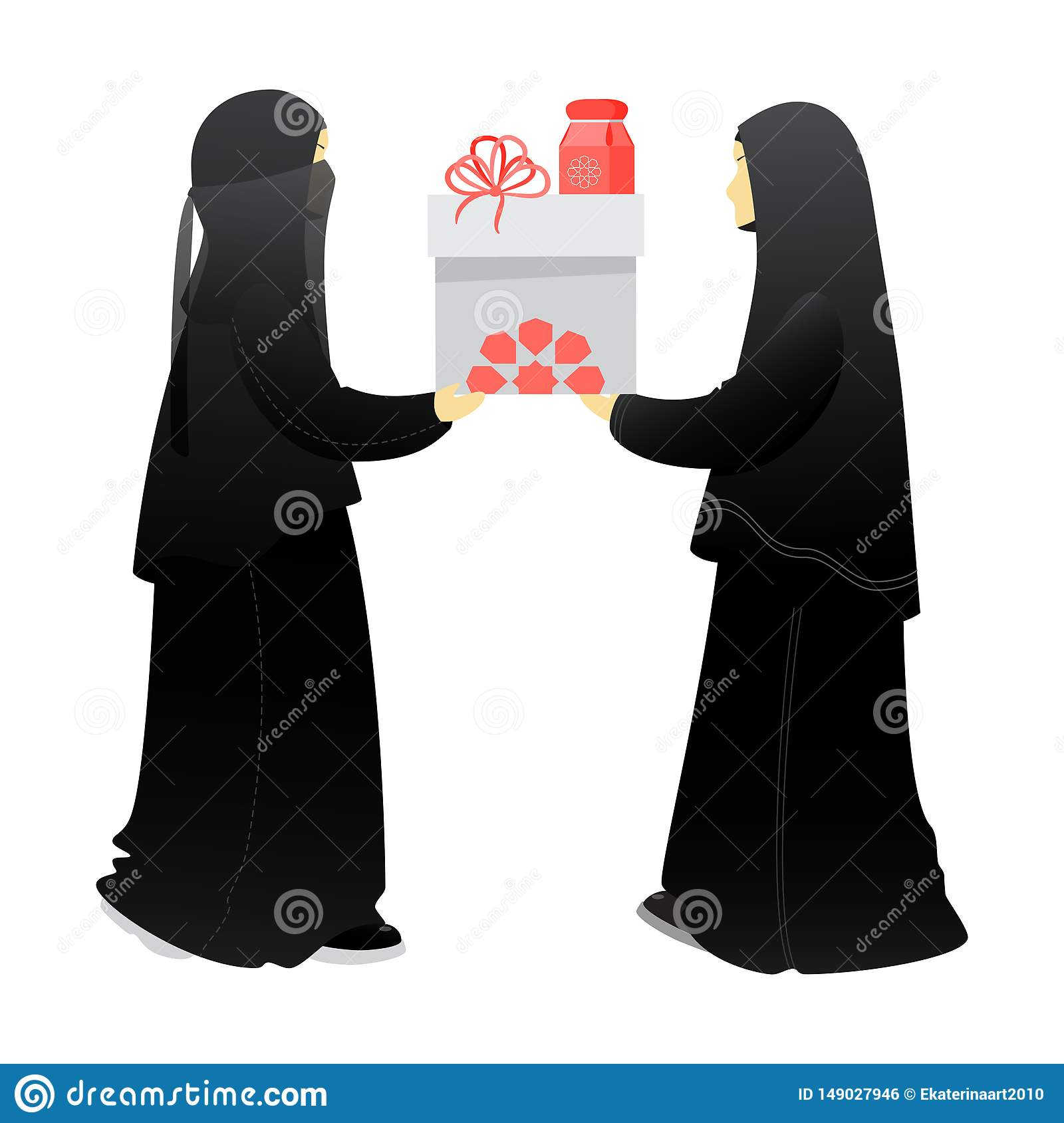 Muslim woman, sisters give a gift to each other