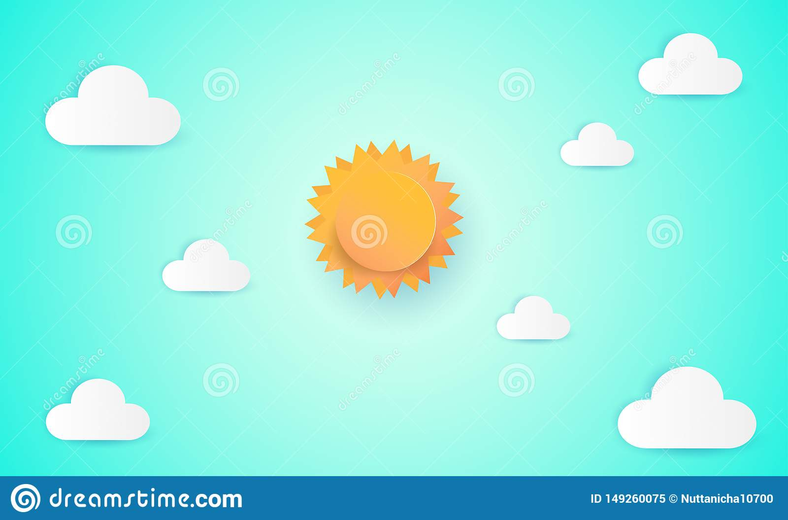 Paper art of sun and cloud on blue sky. Paper cut style, abstract background composed of white paper clouds and sun, illustration