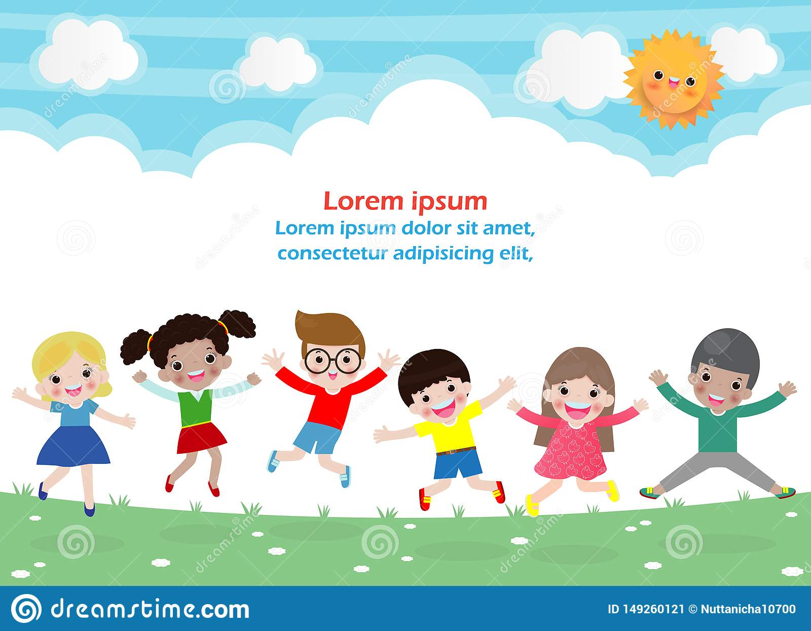 Kids jumping on the park, children jump with joy, happy cartoon child playing on the playground, isolated background Template