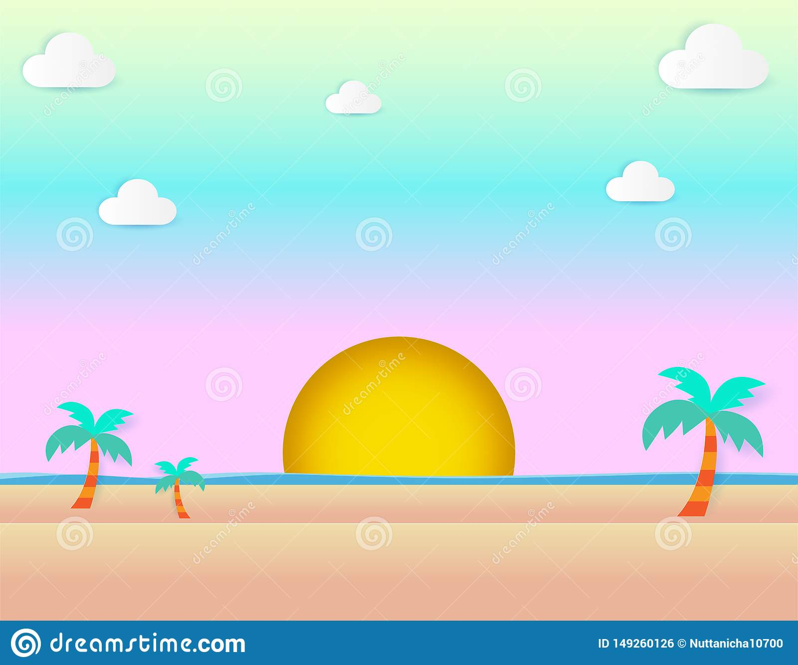 Beautiful sunset at beach, sea view and sunset seascape and natural pastel color scheme background flat design vector illustration