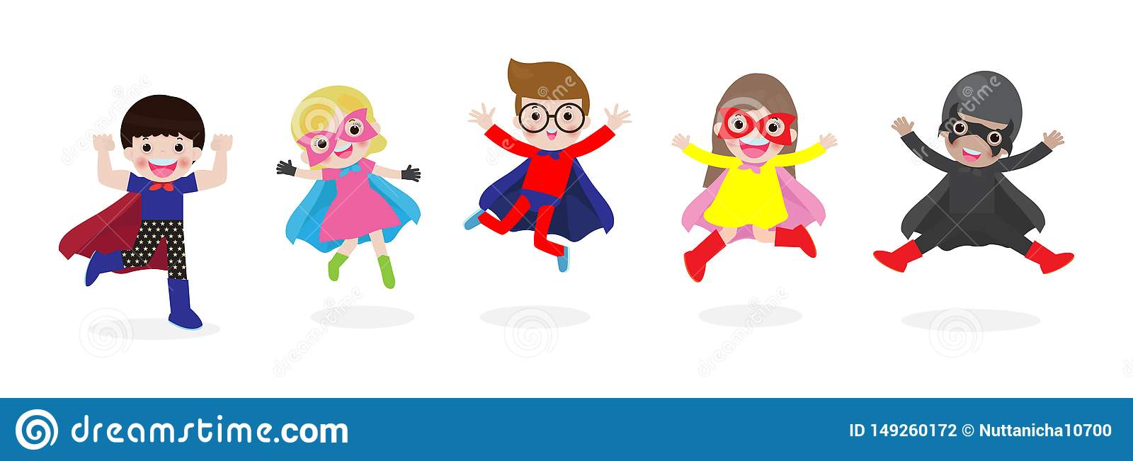 Cartoon set of Kids Super heroes wearing comics costumes. children in Superhero costume characters isolated on white background, v