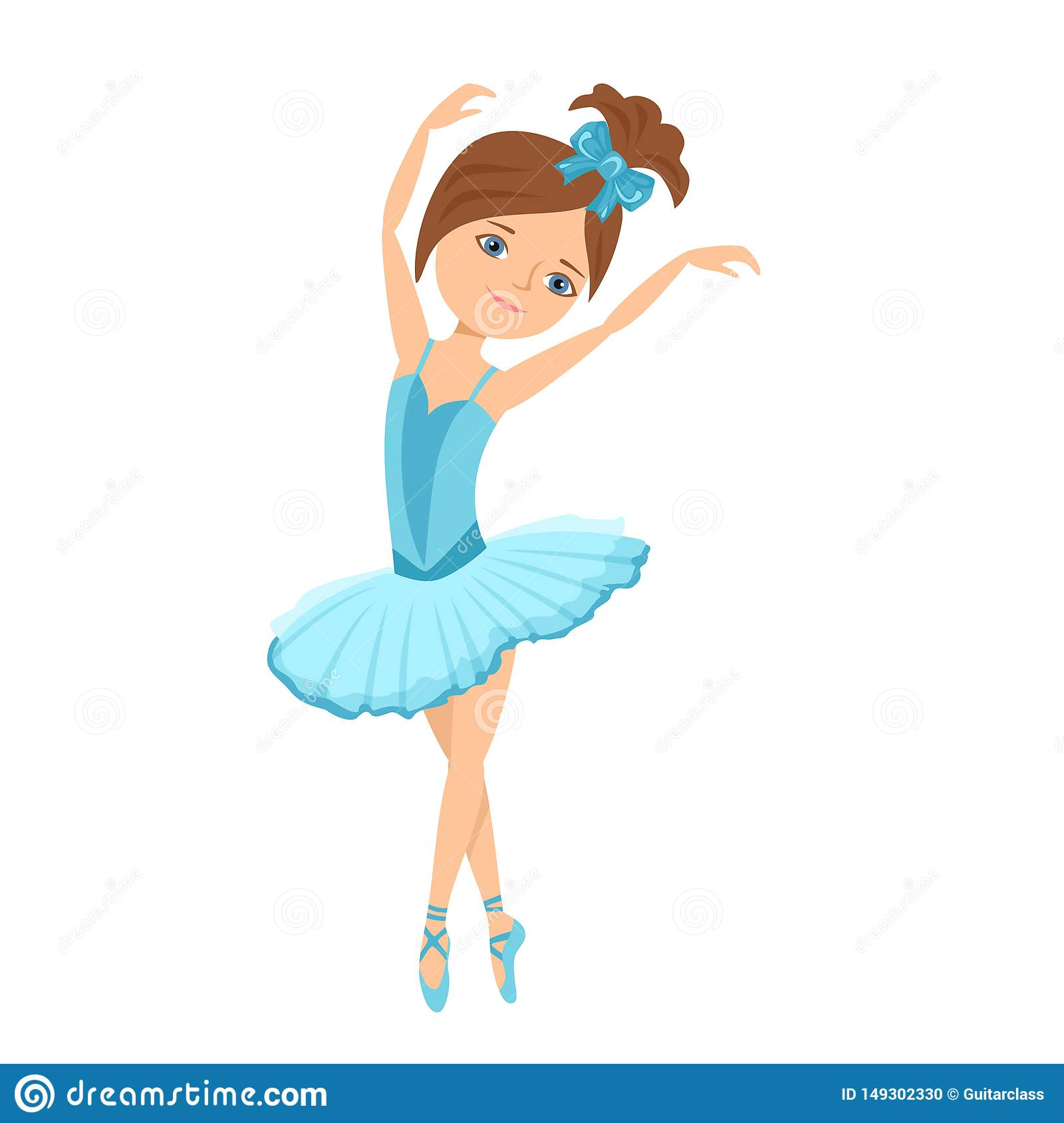 Ballerina In Blue Dress Vector Illustration Of A Dancing Child In Cartoon Flat Style Stock Vector Illustration Of Blue Flat 149302330