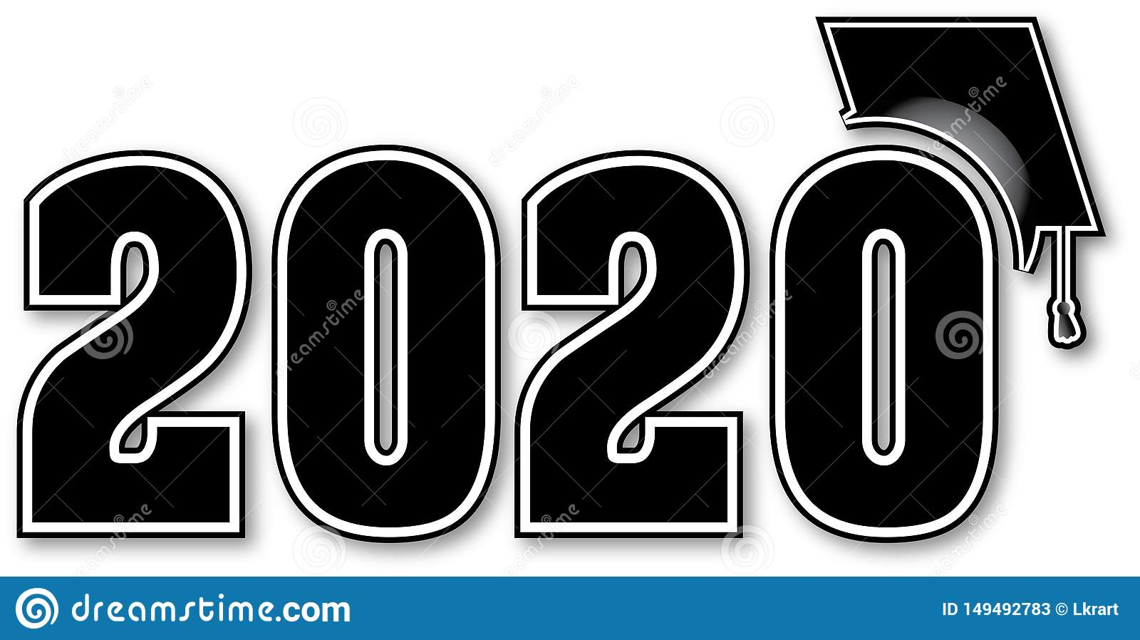 2020 Graduation Images.Black And White Class Of 2020 Stock Illustration