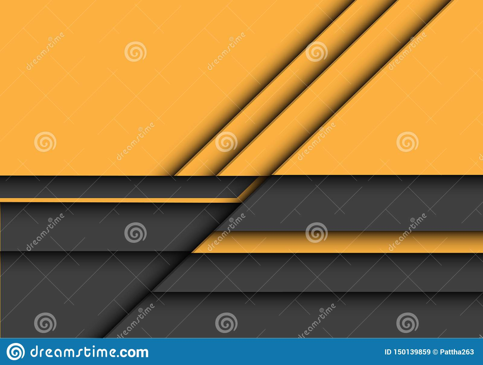 Abstract yellow grey 3D overlap design modern futuristic background vector