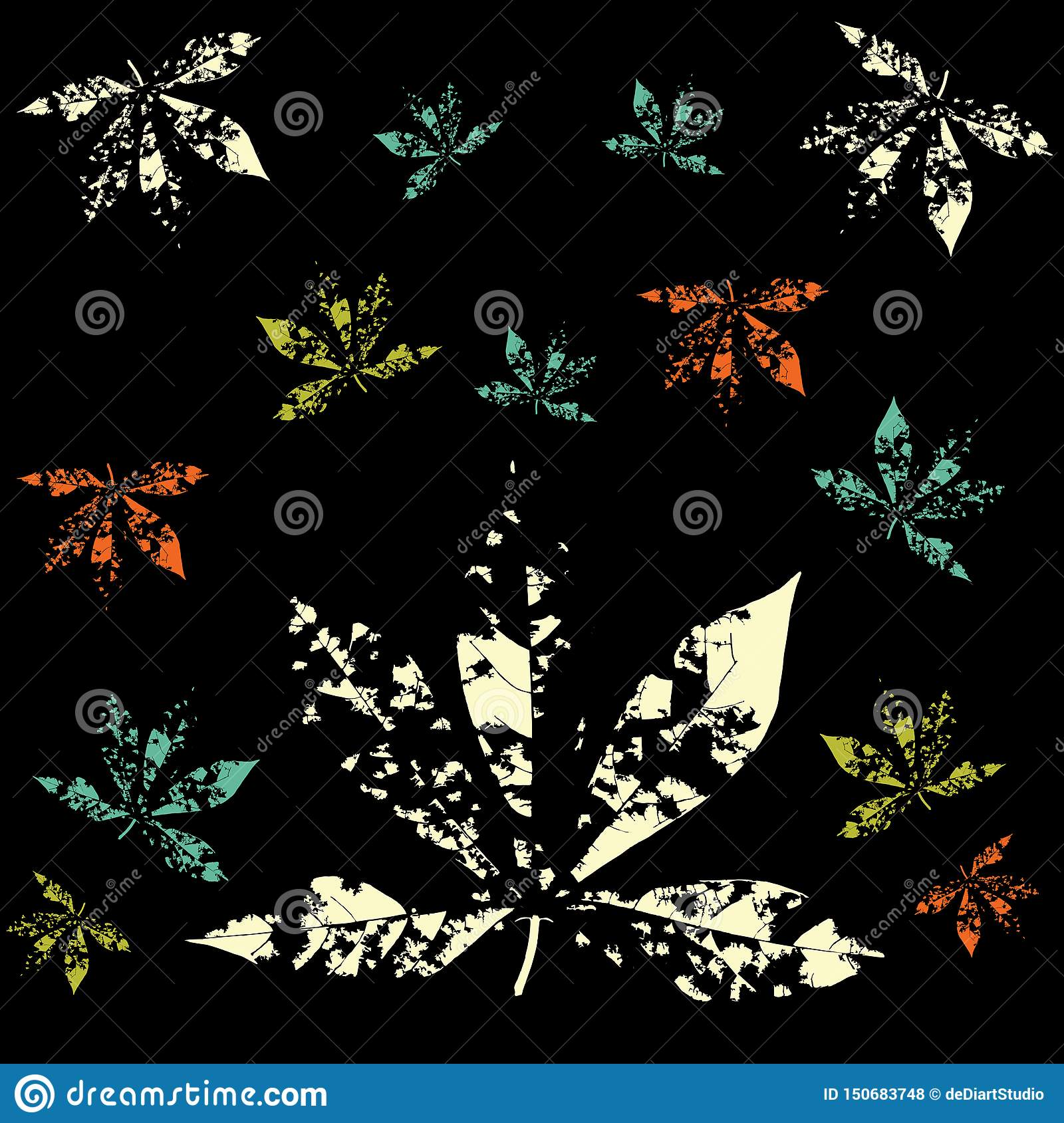 Print Abstract Leaves Pattern Vector black background