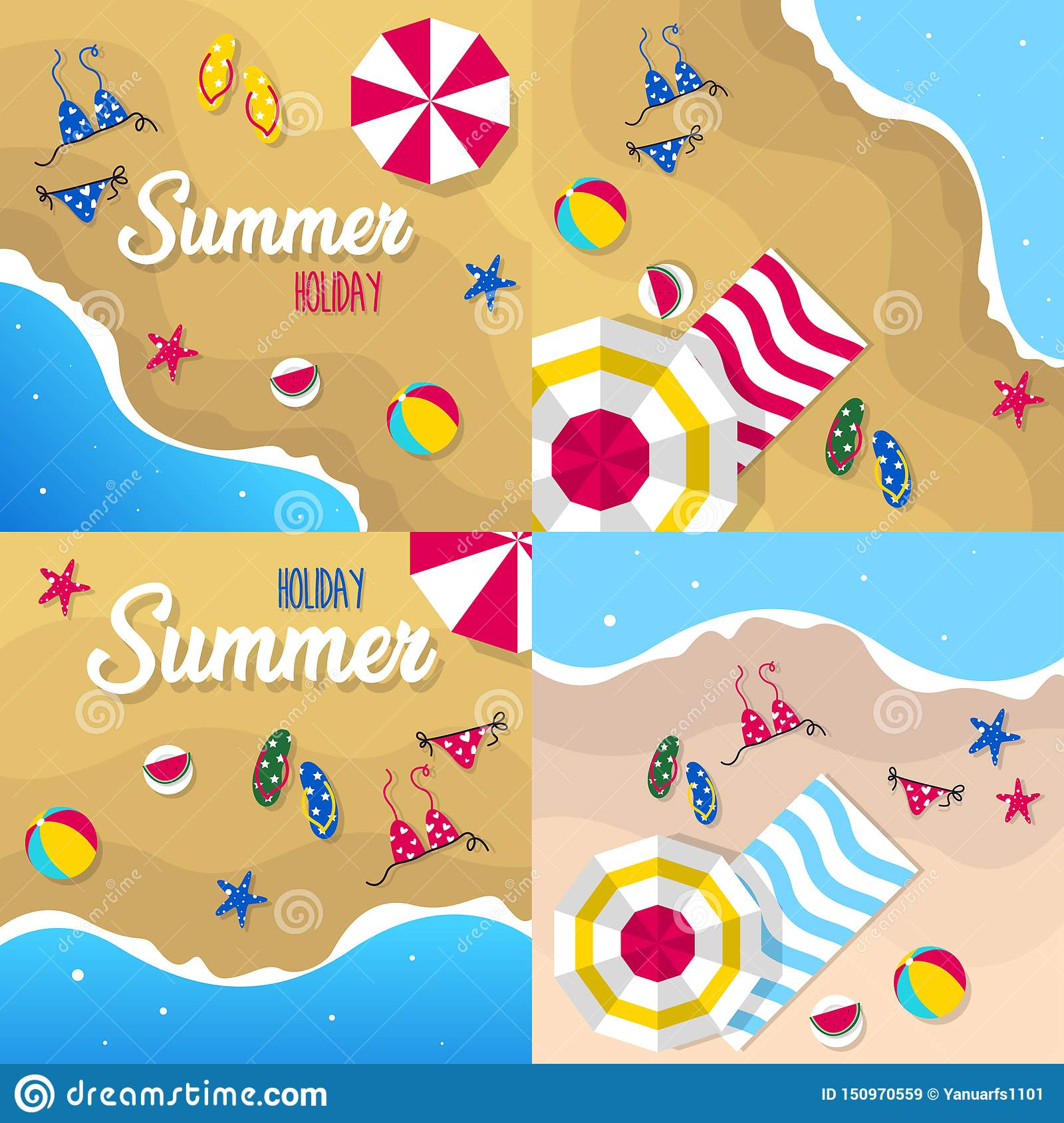 Happy summer holiday in the beach illustration. Tropical holiday in summer illustration