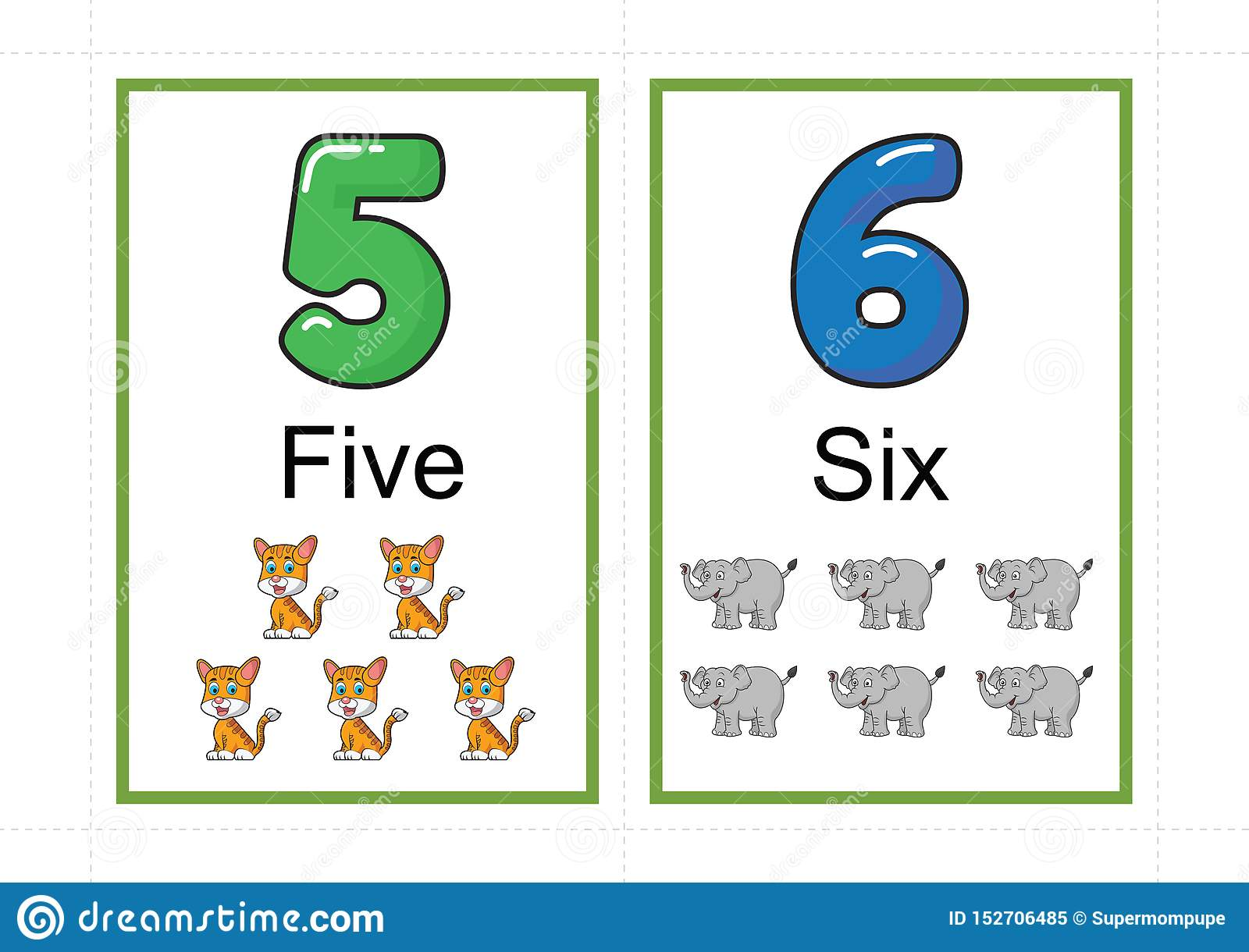 Printable Number Flashcards For Teaching Number Flashcards Number Flash Card For Teaching Number Easy To Print On A4 With Dotted Stock Vector Illustration Of Game Number 152706485