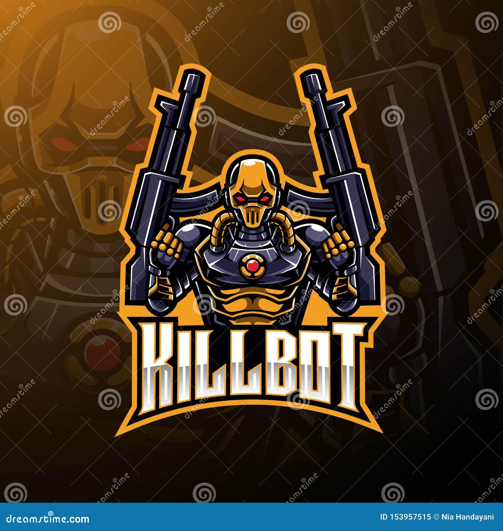 Kill robot mascot logo design