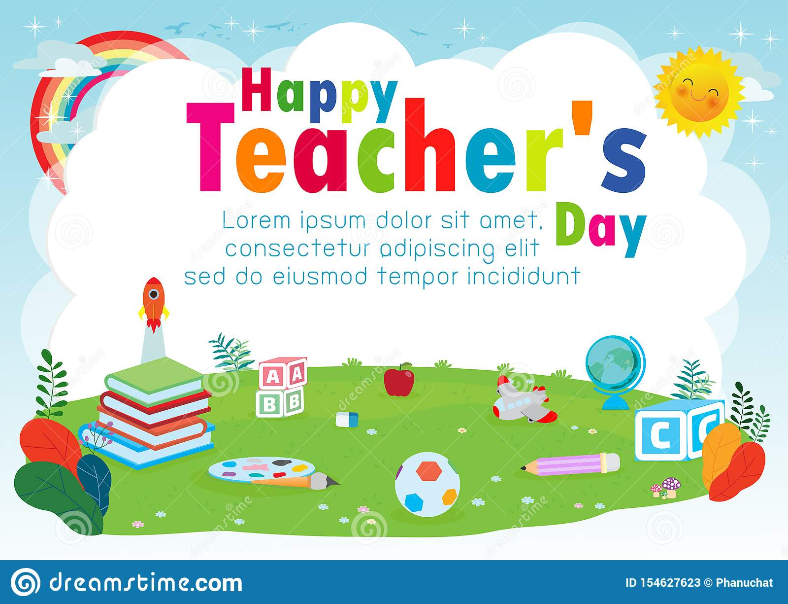 happy teachers day poster concept world teachers day