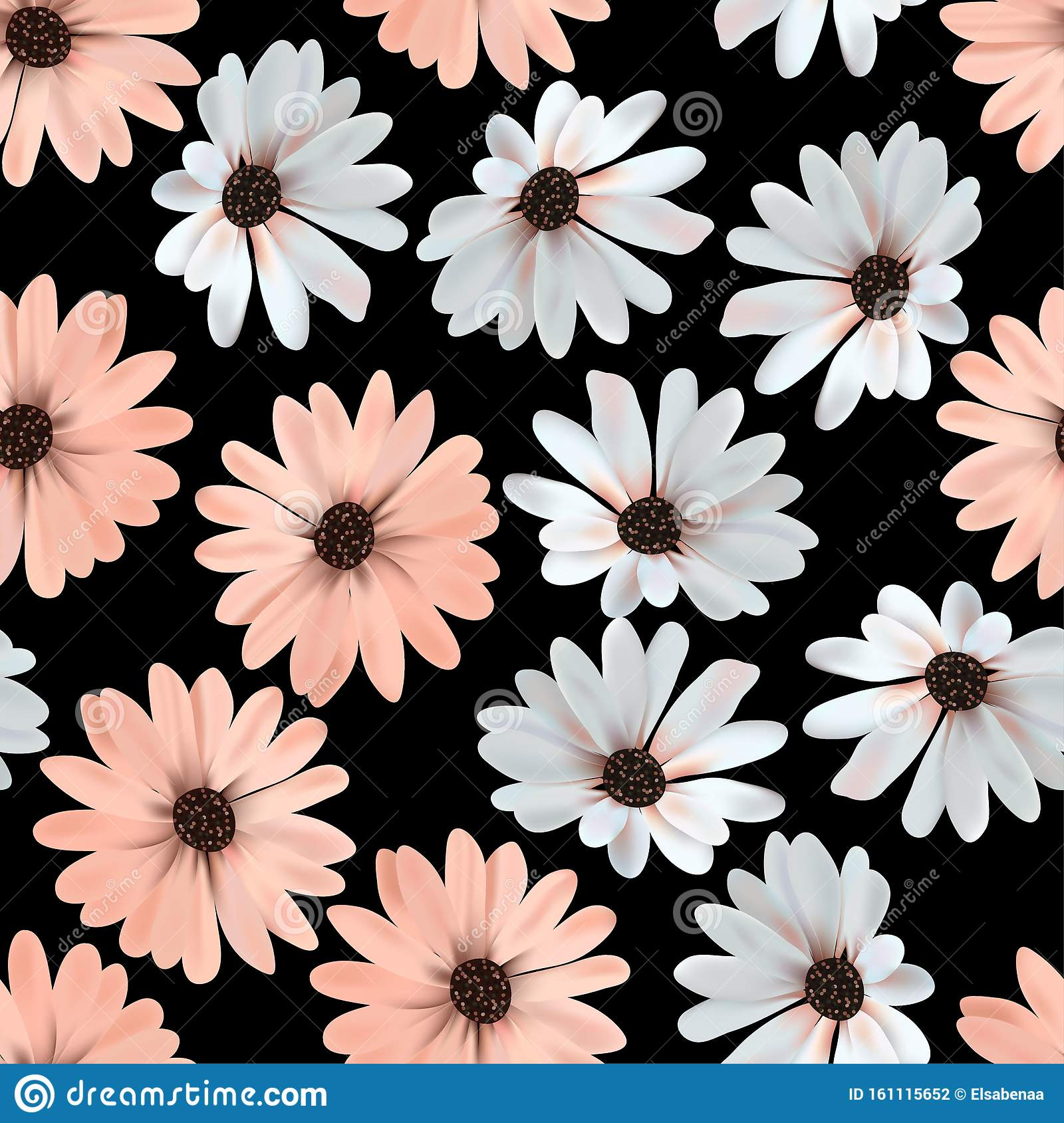 Daisy Flower Seamless Pattern Black Background Stock Illustration