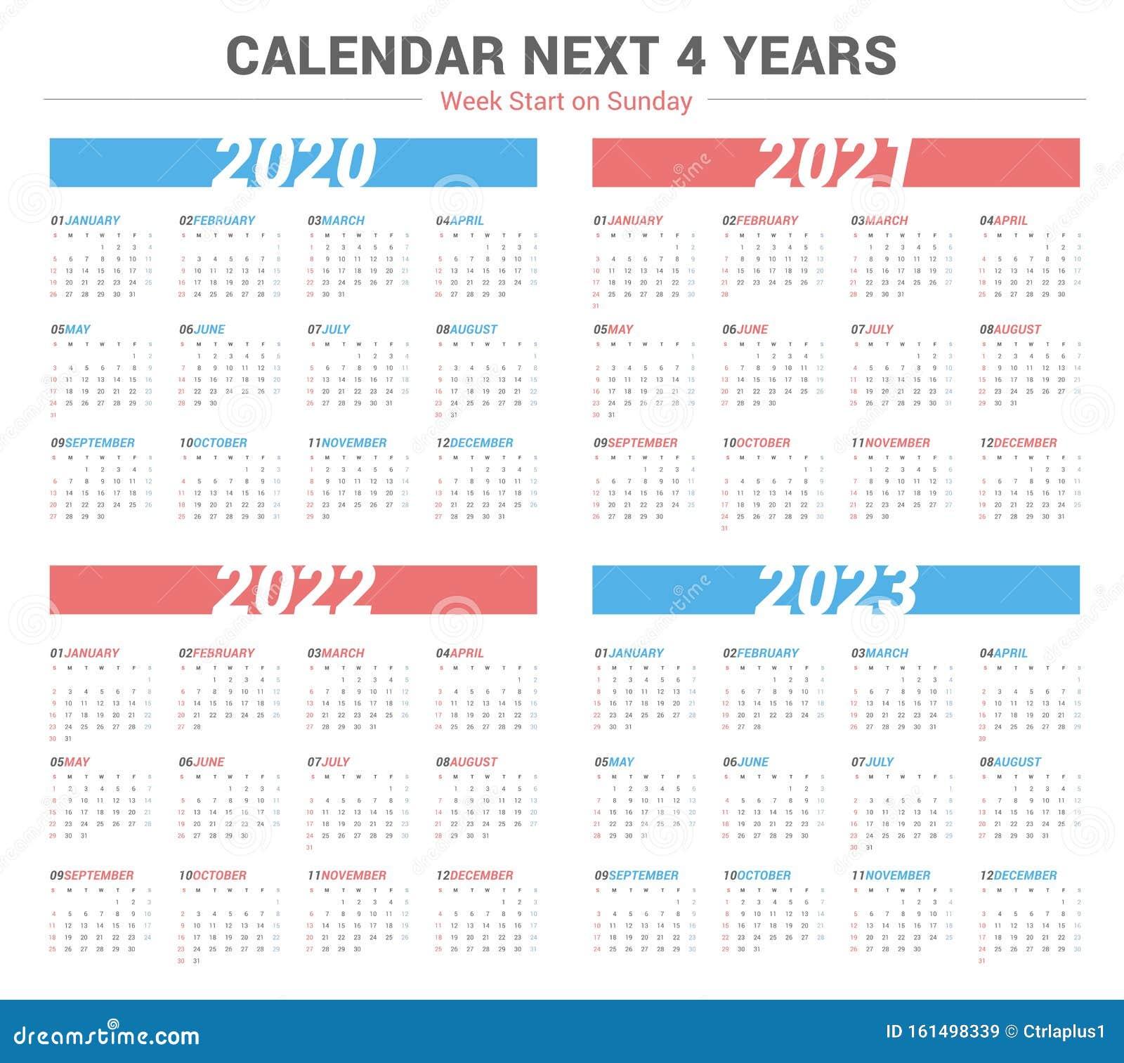 Calendrier Trial 4×4 2022 Simple Calendar For 4 Years 2020 2021 2022 2023. Week Start On