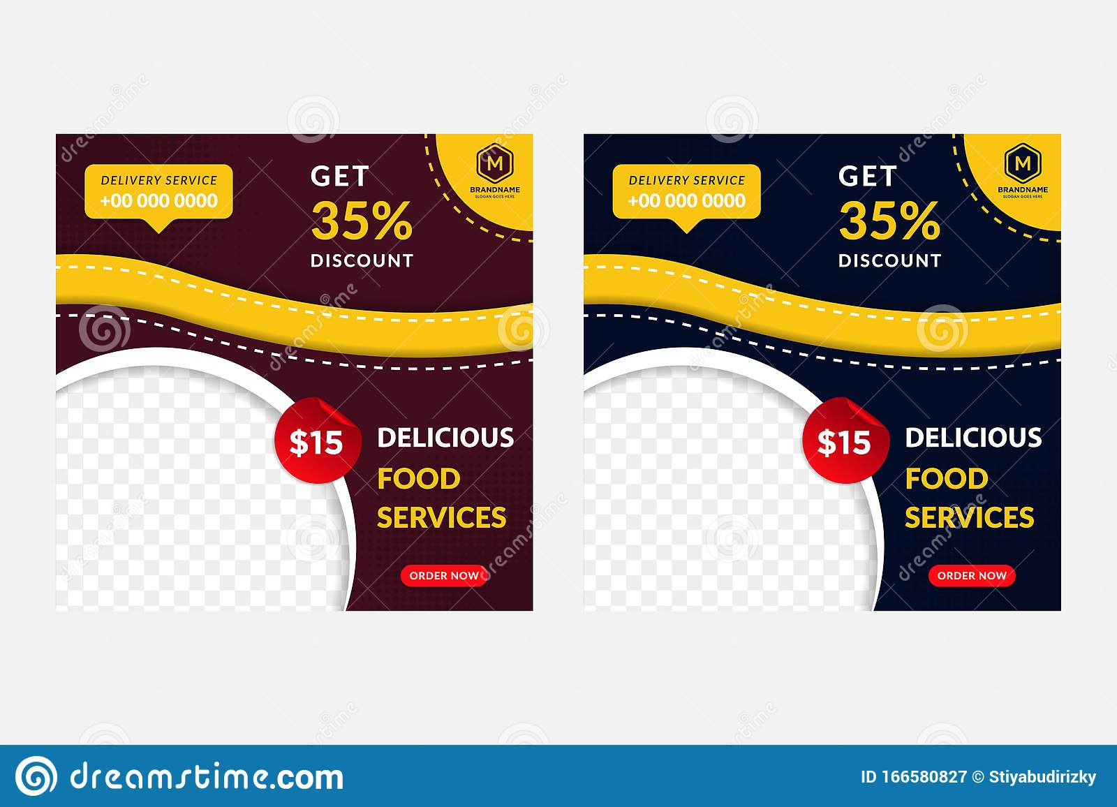 Social Media Post For Food And Restaurant Promotion Dark Red And Blue Background Combination With Red White And Yellow Colors Stock Vector Illustration Of Layout Brochure 166580827