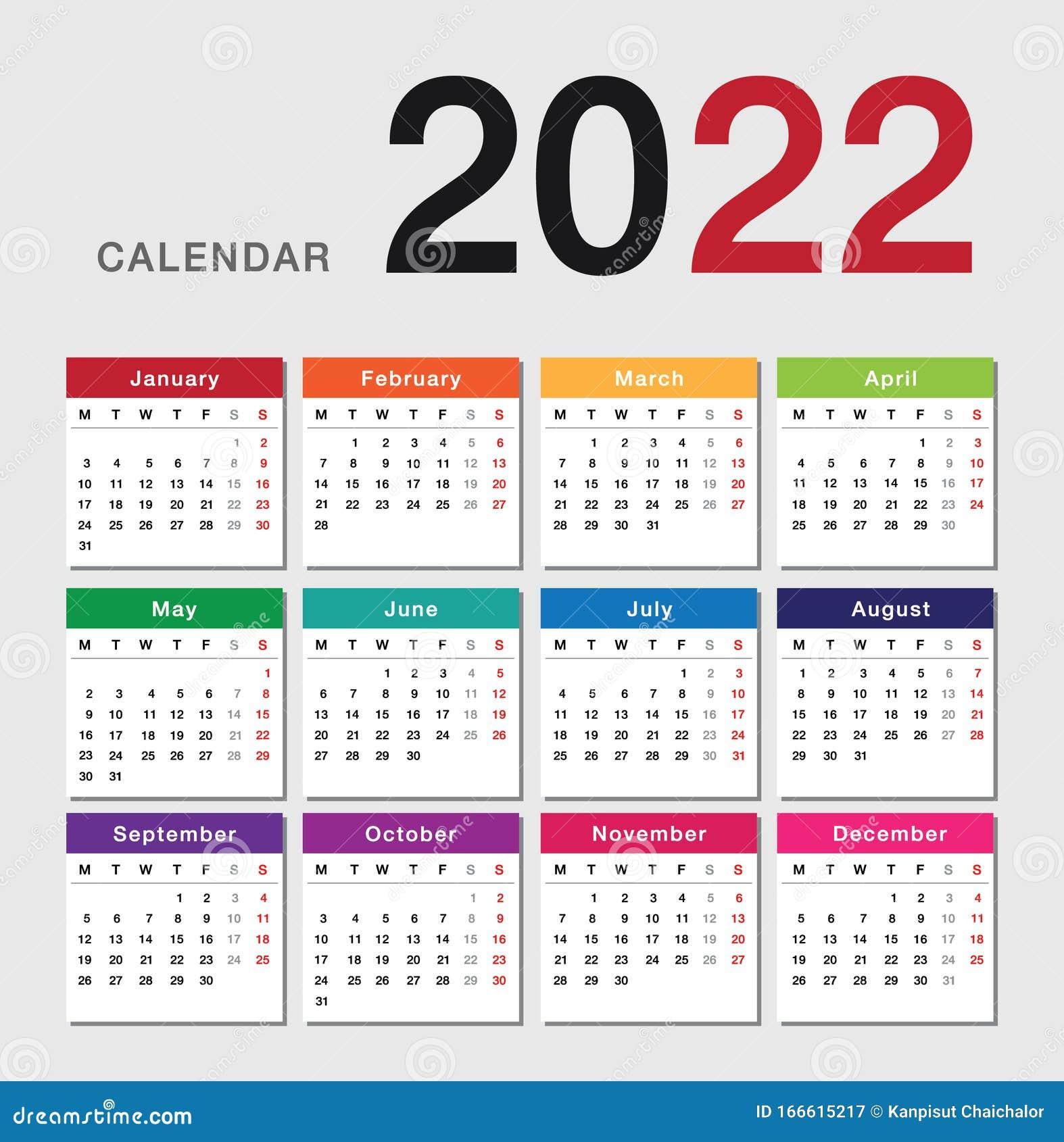 2022 2023 Calendar.Colorful Year 2022 Calendar Horizontal Vector Design Template Simple And Clean Design Stock Illustration Illustration Of Date April 166615217