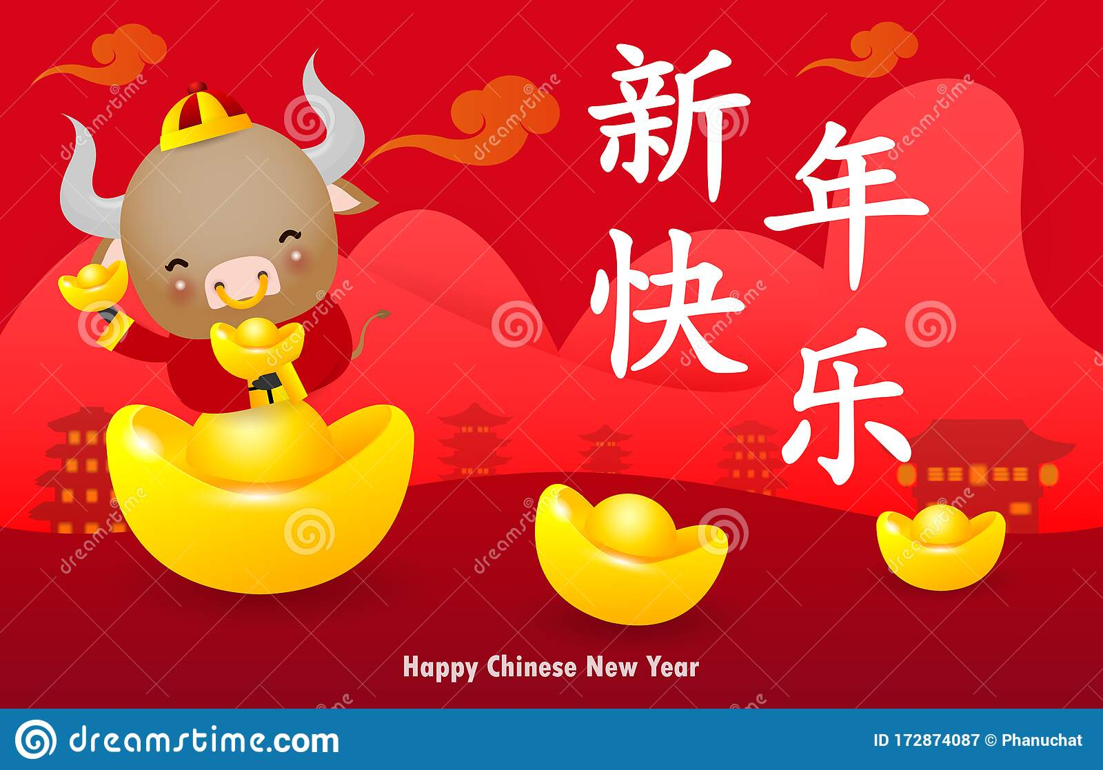 Happy Chinese New Year 2021 Greeting Card Little Ox Holding Chinese Gold Year Of The Ox Zodiac Cartoon Isolated Vector Stock Vector Illustration Of Celebration China 172874087