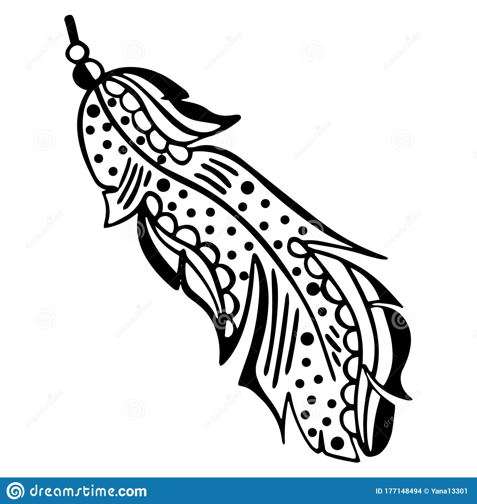 Feather Bookmarks Coloring Page Stock Illustration - Illustration ... | 1689x1600
