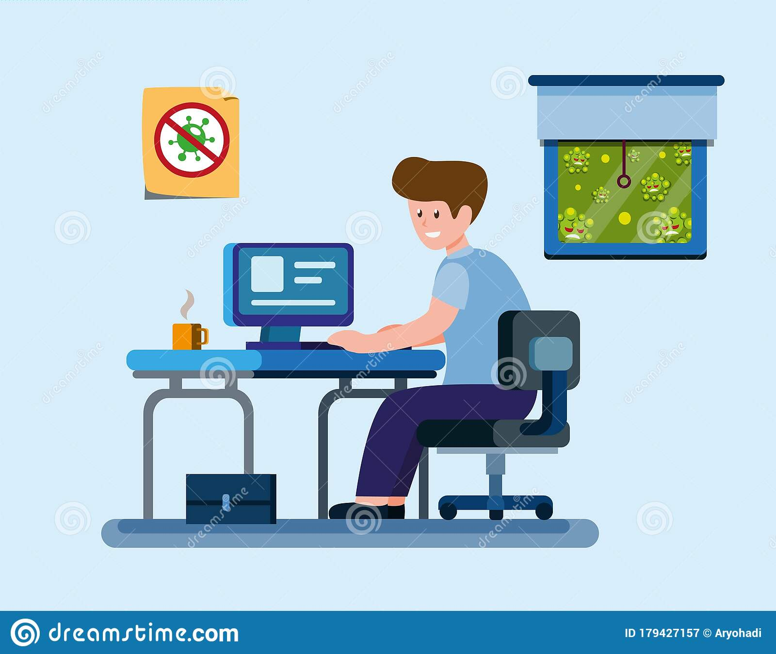 Man Work From Home To Protection From Virus Infection