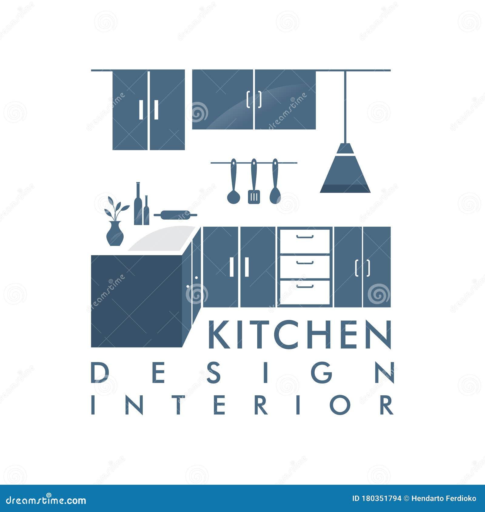 Cabinet Furniture Kitchen Set Interior Graphic Vector Logo Design ...