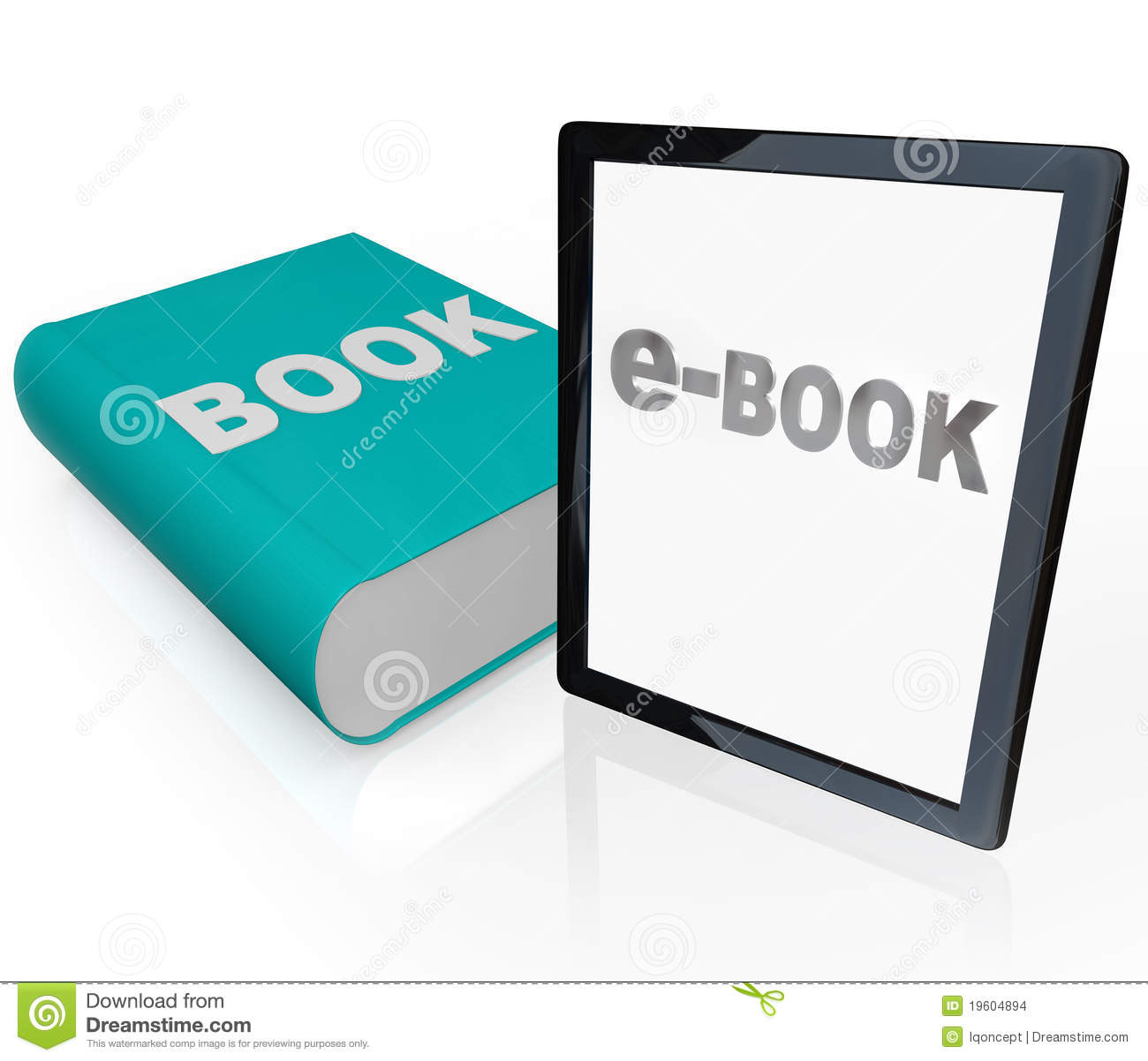 Print Book And E-Book - Old Vs New Media Stock ...