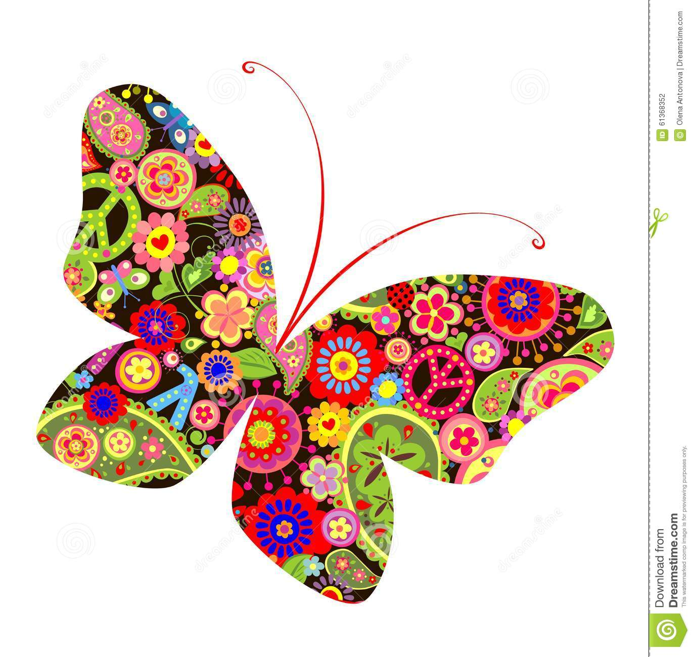 Print With Butterfly With Hippie Symbolic Stock Vector ... (1373 x 1300 Pixel)