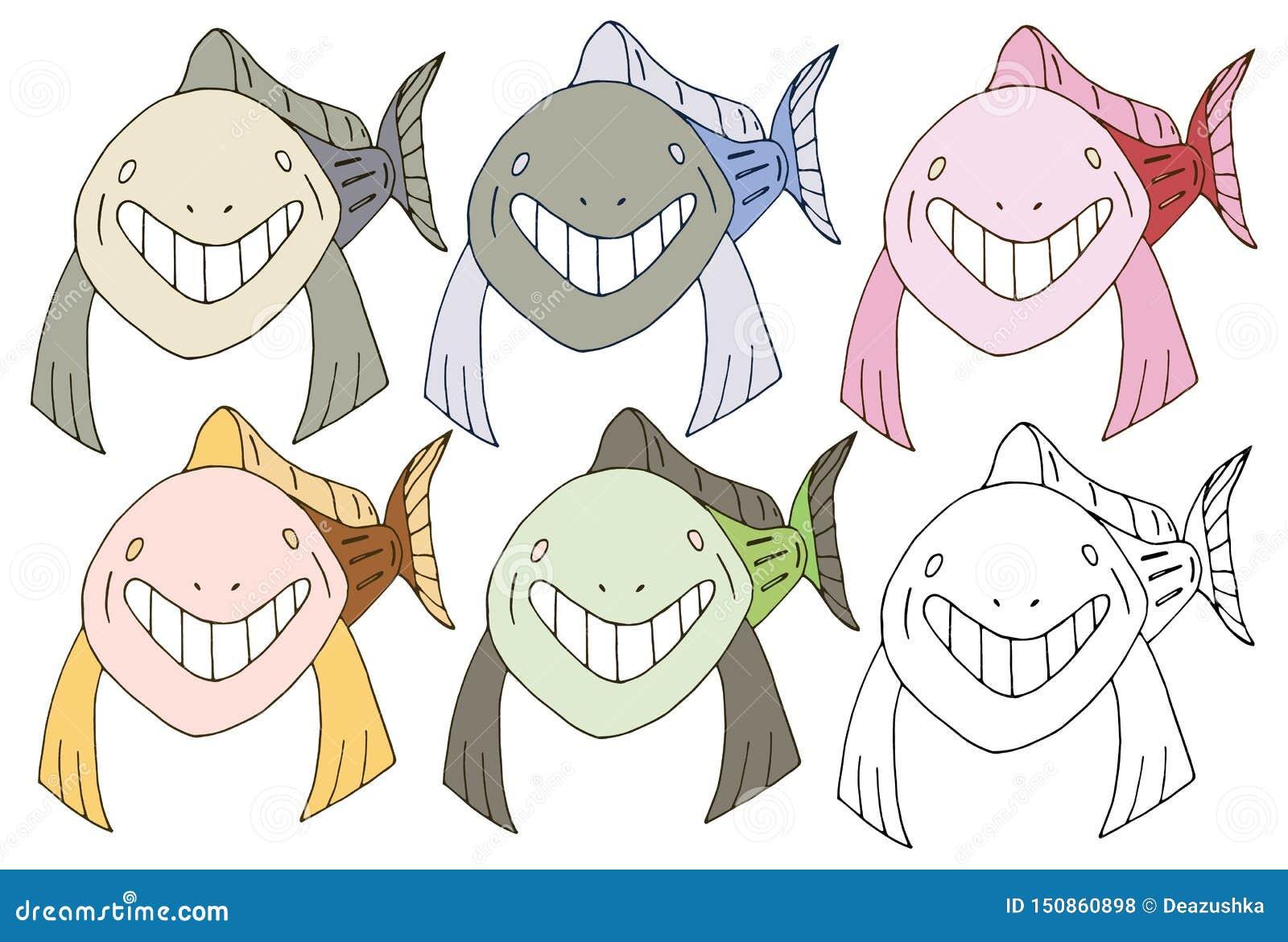 Print cartoon doodle fish shark monster color set hand draw happy