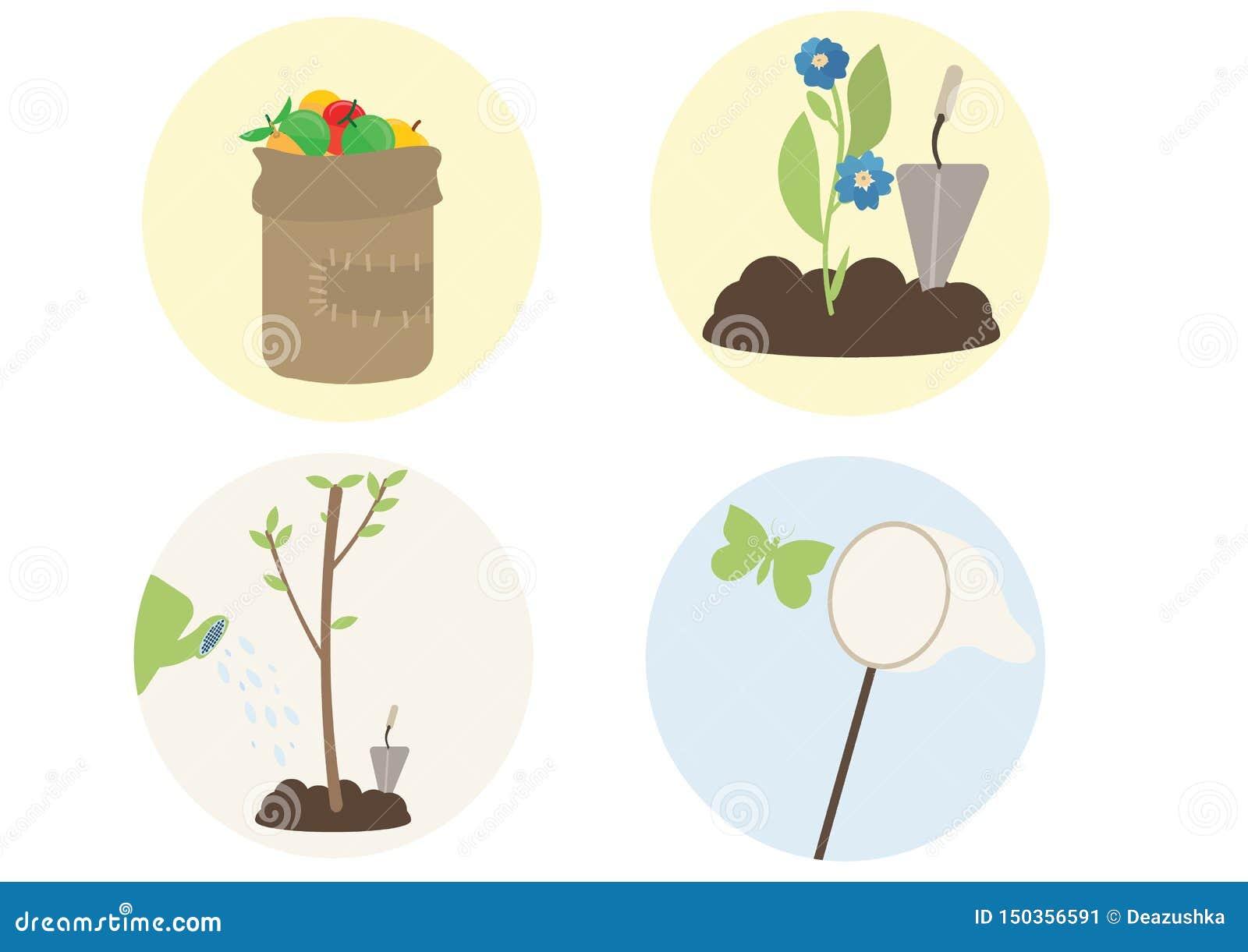 Print cartoon flat plant trees flower catch butterflies fruit picking
