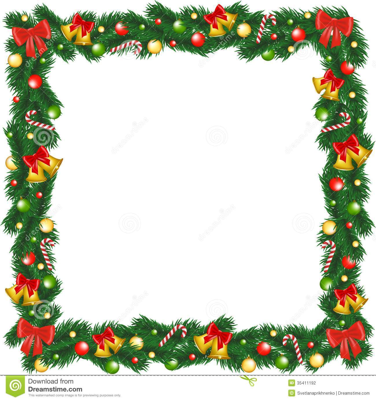 Christmas garland frame with bells, bauble and sugar canes.