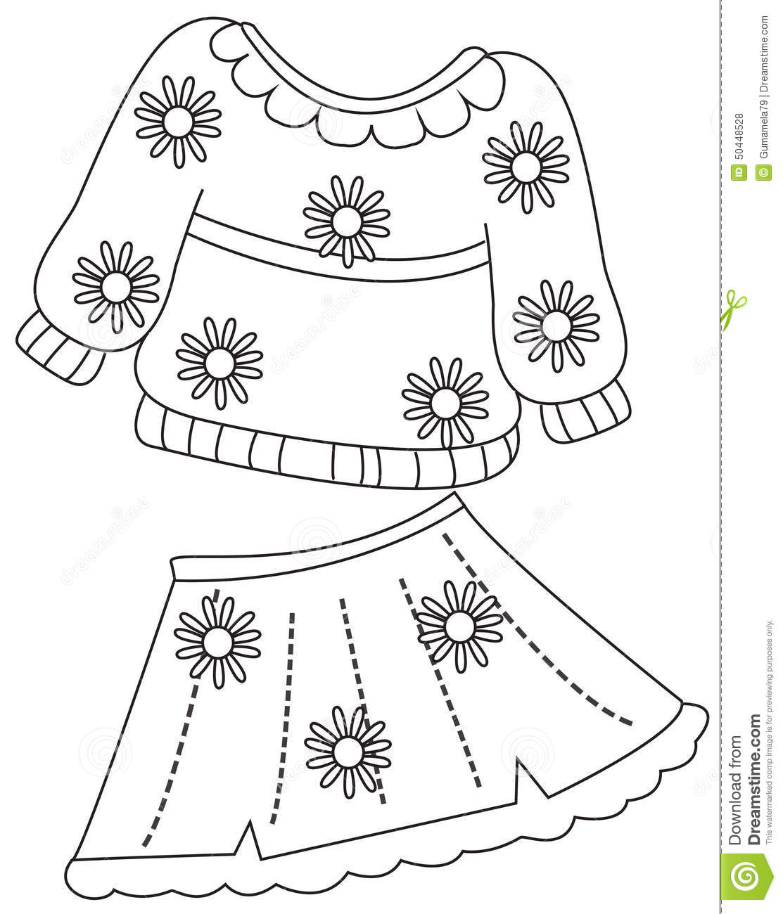 Print Clothes Coloring Page Stock Illustration Illustration Of