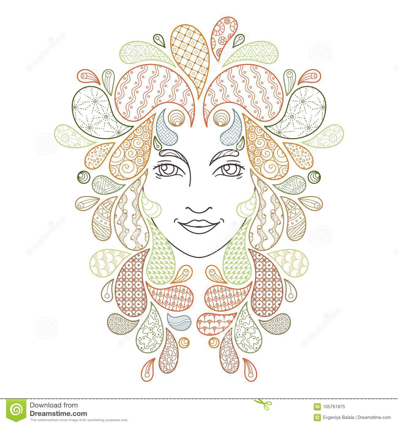 Print For The Coloring Book. Portrait Of A Beautiful Girl Stock ...