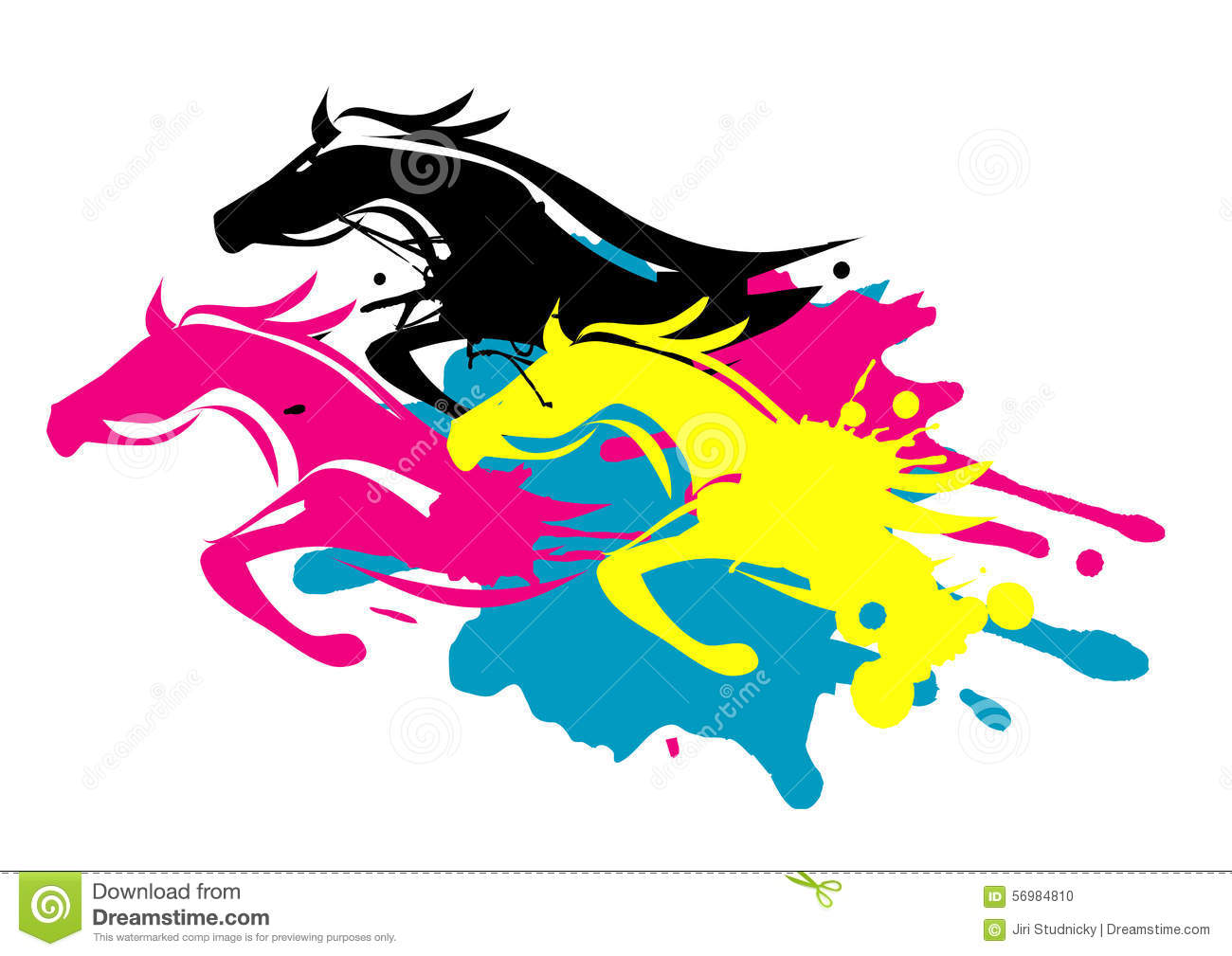 print colors as running horses - Horse Pictures Print Color
