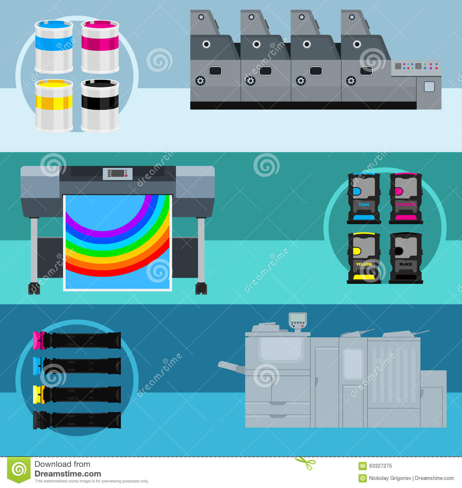 Print Equipment Stock Vector