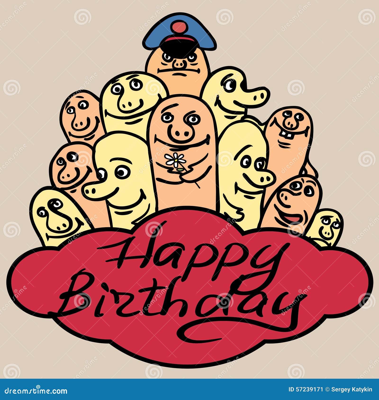 Print Greeting Card Happy Birthday Small Funny Illustration