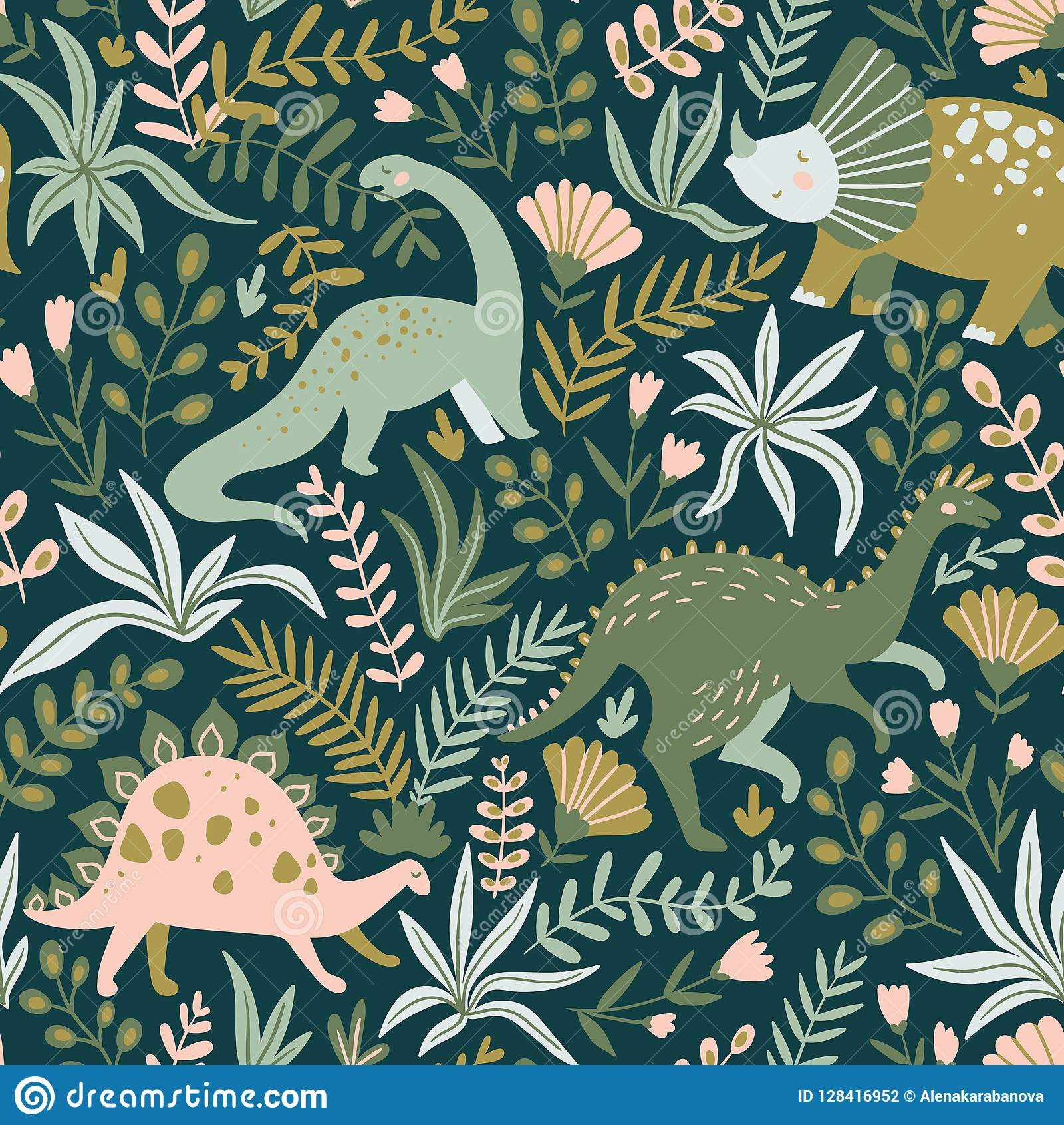 Hand drawn seamless pattern with dinosaurs and tropical leaves and flowers. Vector illustration.