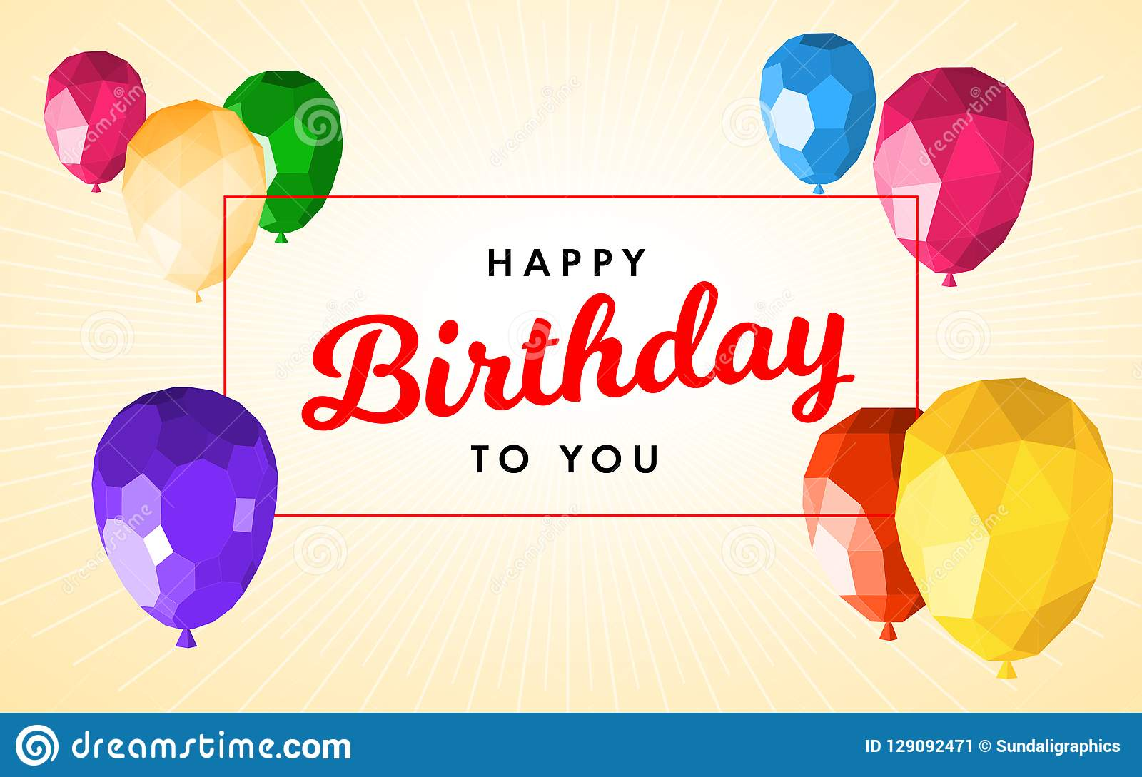 Happy Birthday Greeting Card Template Stock Vector Illustration Of Helium Greeting 129092471