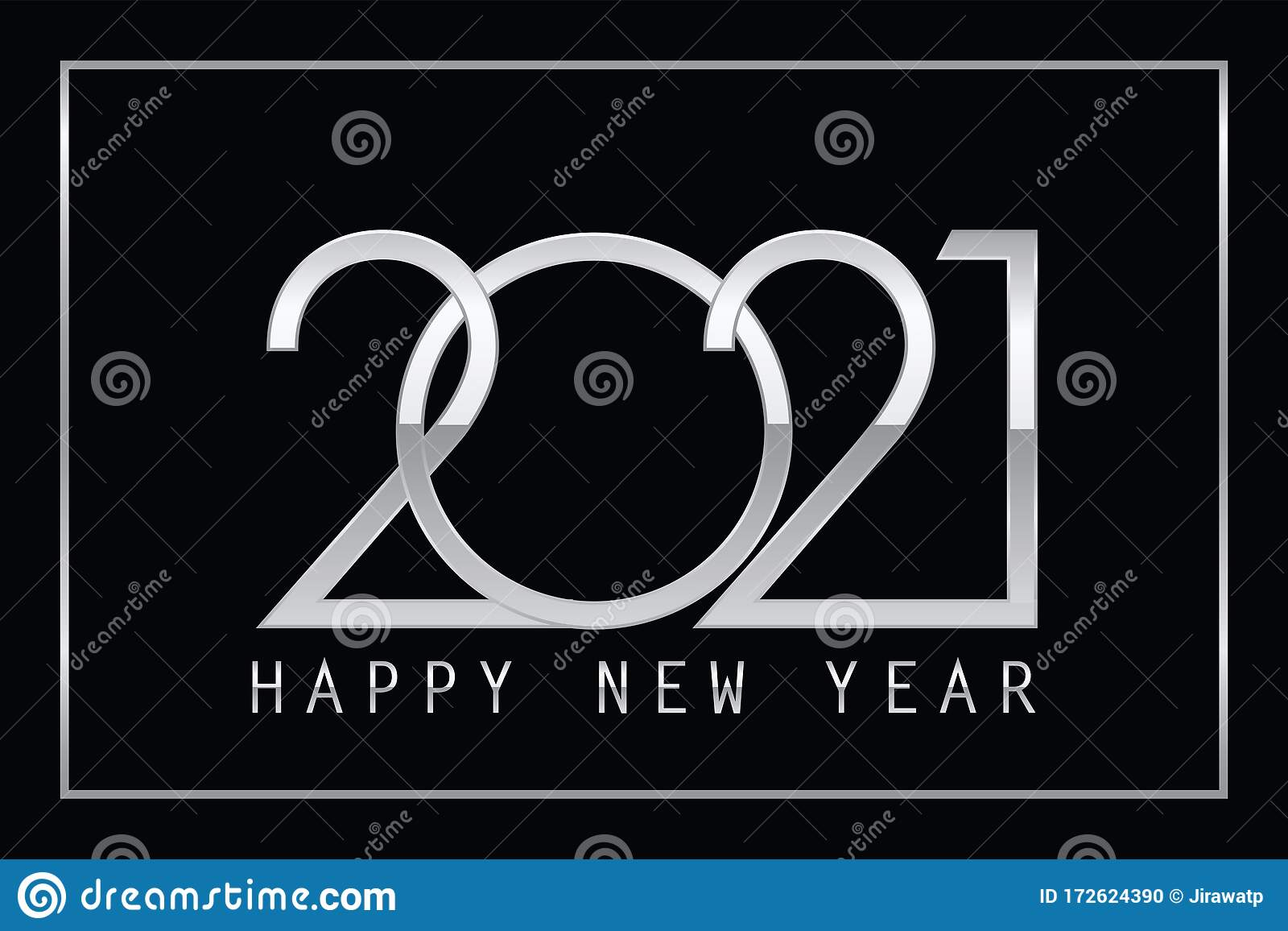 Happy New Year 2021 - Number 2021 Metallic Chrome Style On ...