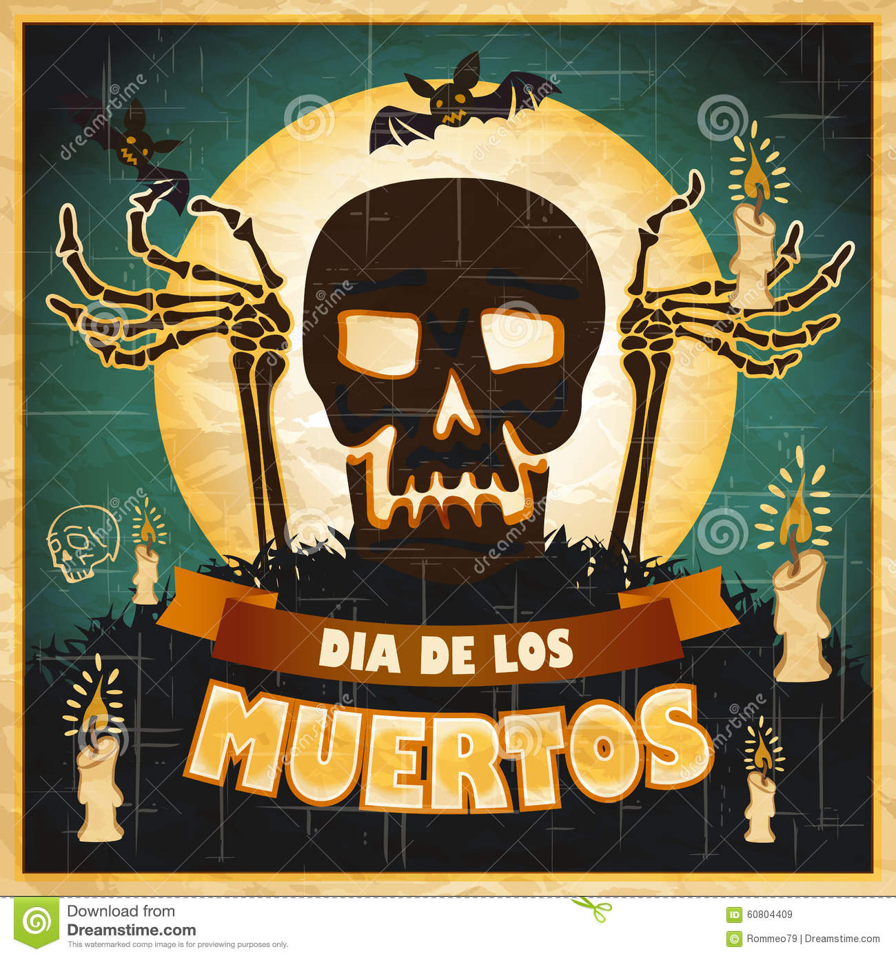 Vintage Day Of Dead Colorful Print: Mexican Skull, Day Of The Dead Cartoon Vector