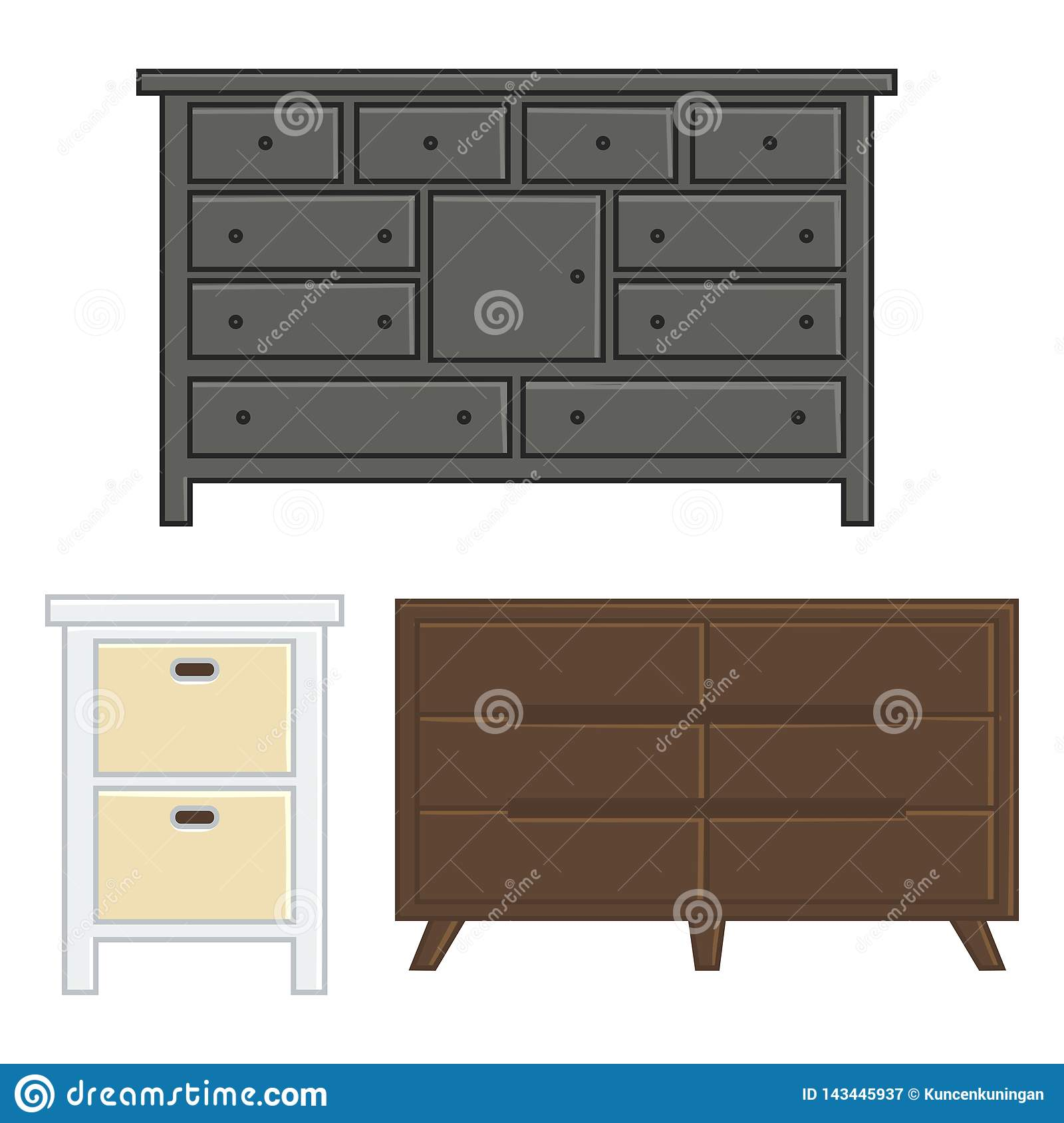 Set of vector illustration drawer and cabinet