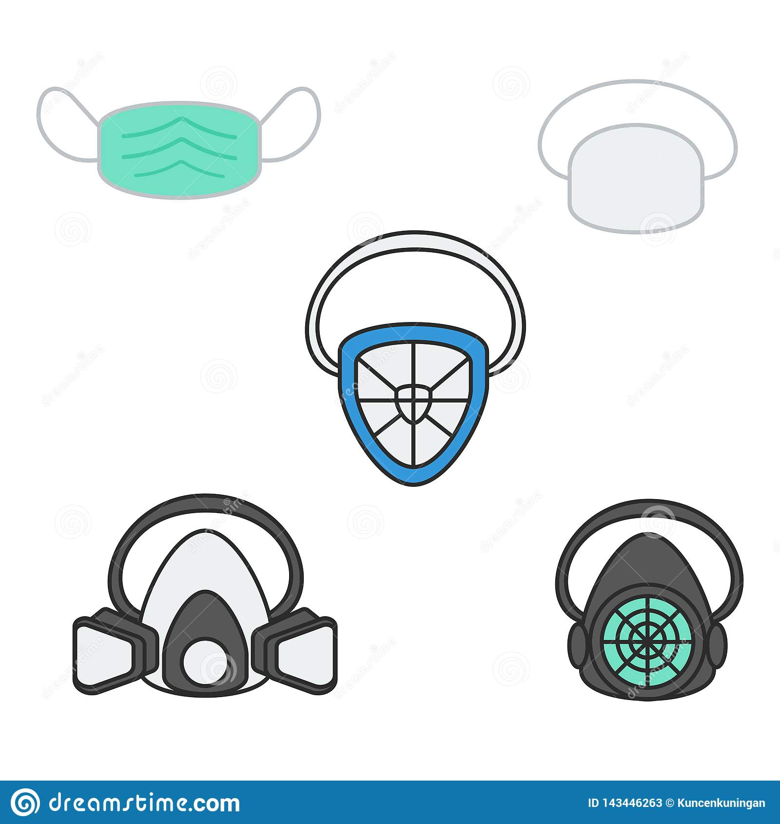 Set of vector illustration safety mask and respirator
